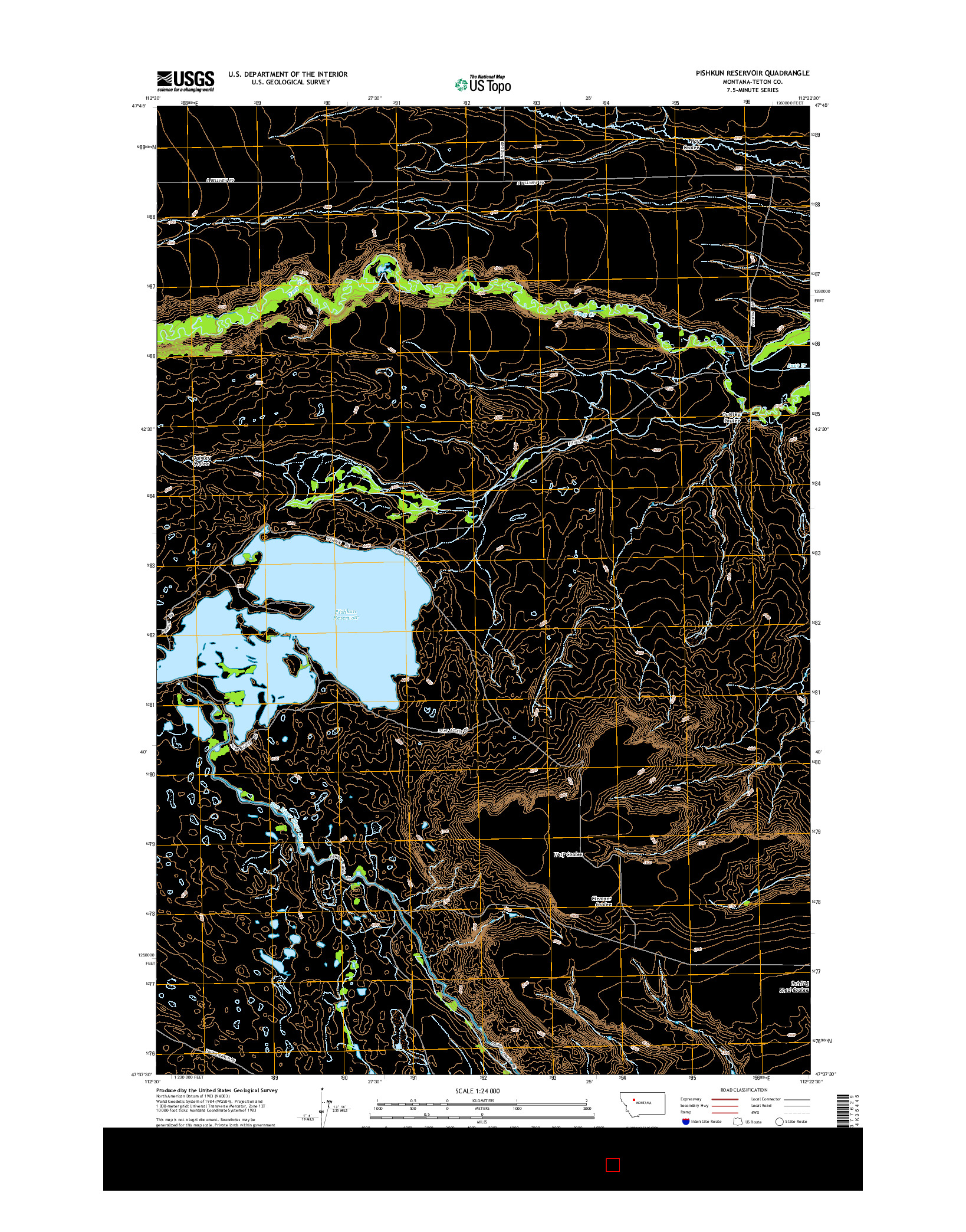USGS US TOPO 7.5-MINUTE MAP FOR PISHKUN RESERVOIR, MT 2014