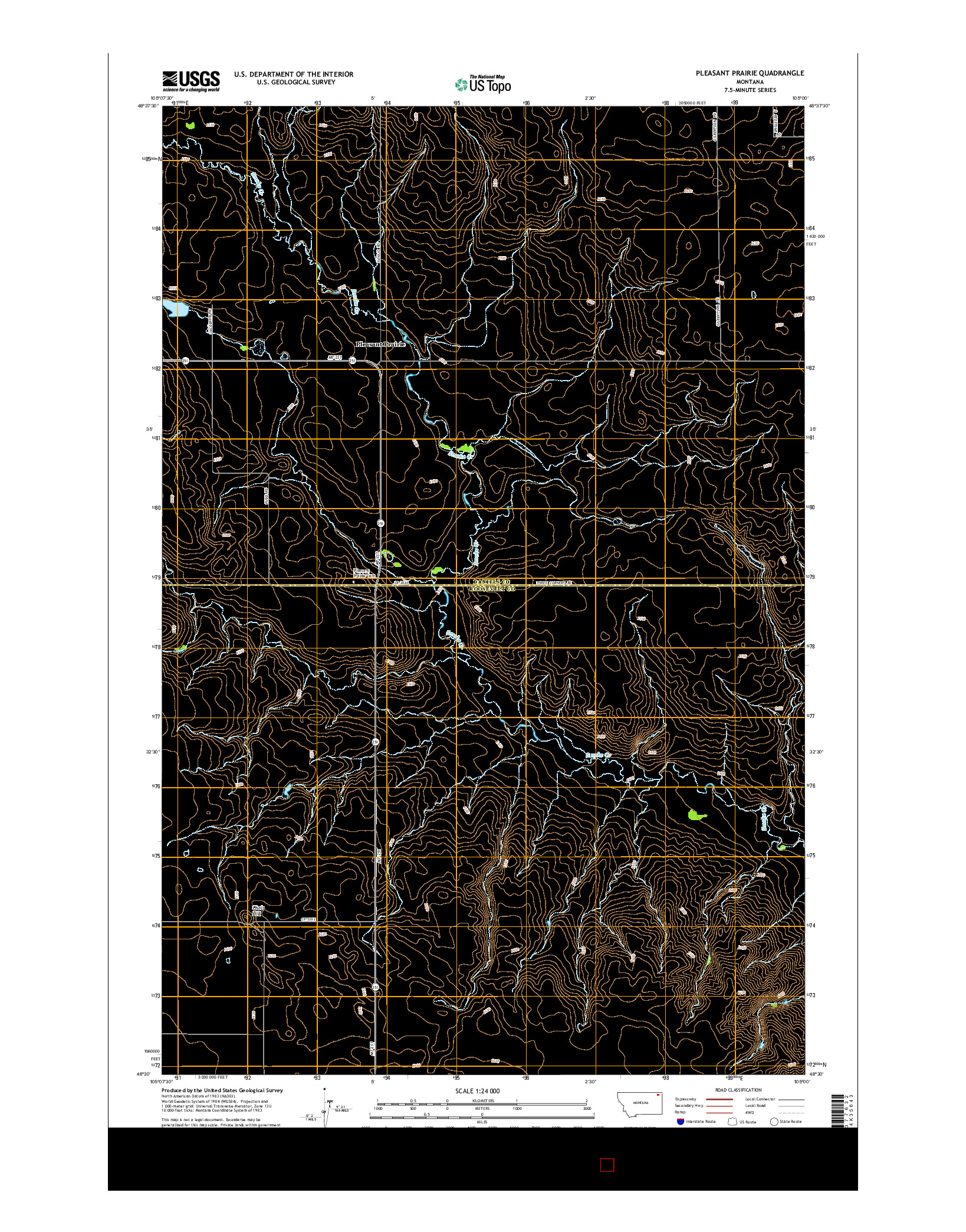 USGS US TOPO 7.5-MINUTE MAP FOR PLEASANT PRAIRIE, MT 2014