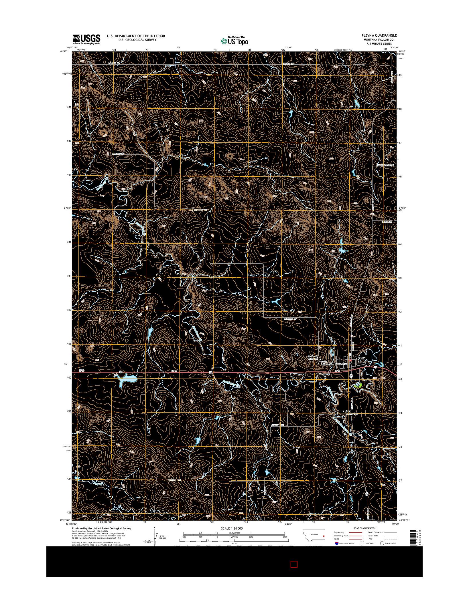 USGS US TOPO 7.5-MINUTE MAP FOR PLEVNA, MT 2014