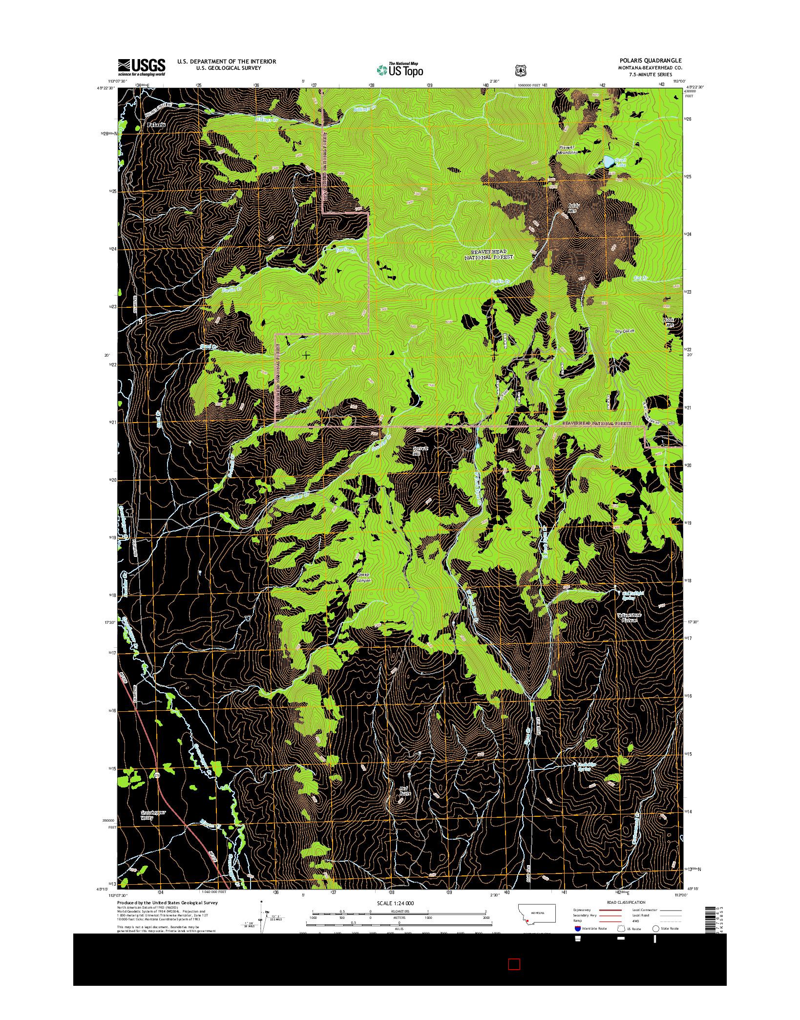 USGS US TOPO 7.5-MINUTE MAP FOR POLARIS, MT 2014
