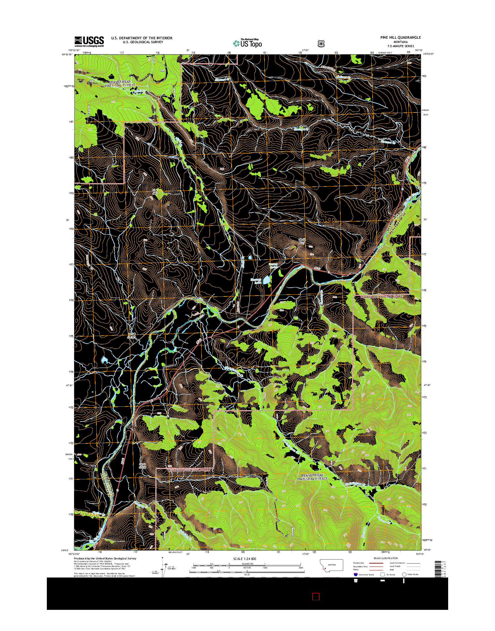 USGS US TOPO 7.5-MINUTE MAP FOR PINE HILL, MT 2014
