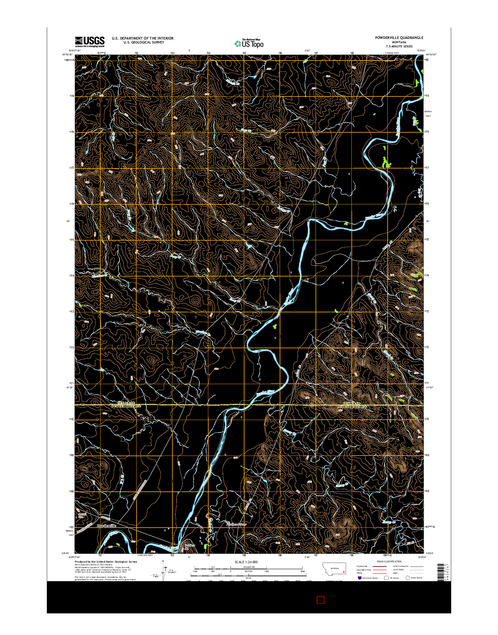 USGS US TOPO 7.5-MINUTE MAP FOR POWDERVILLE, MT 2014