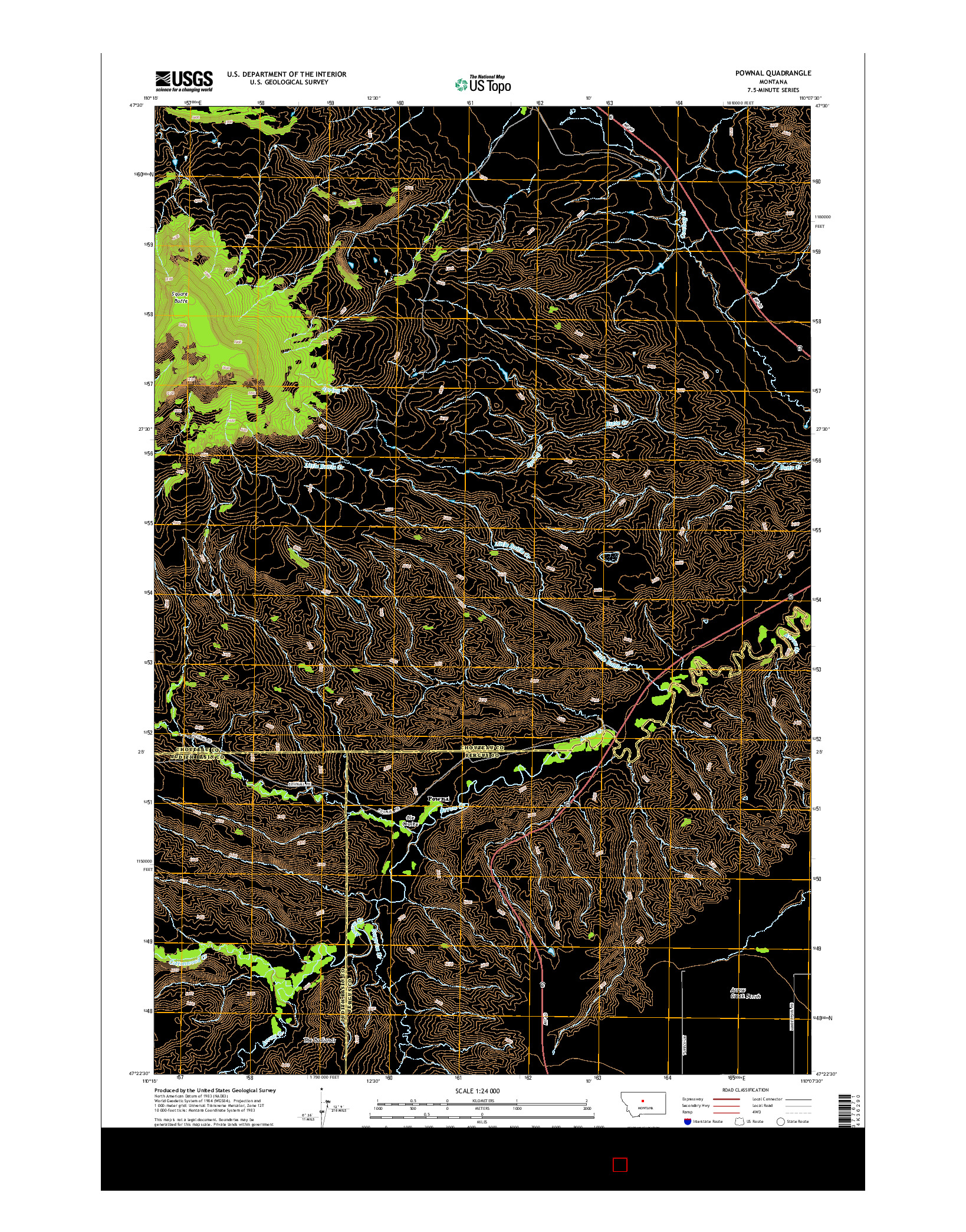 USGS US TOPO 7.5-MINUTE MAP FOR POWNAL, MT 2014