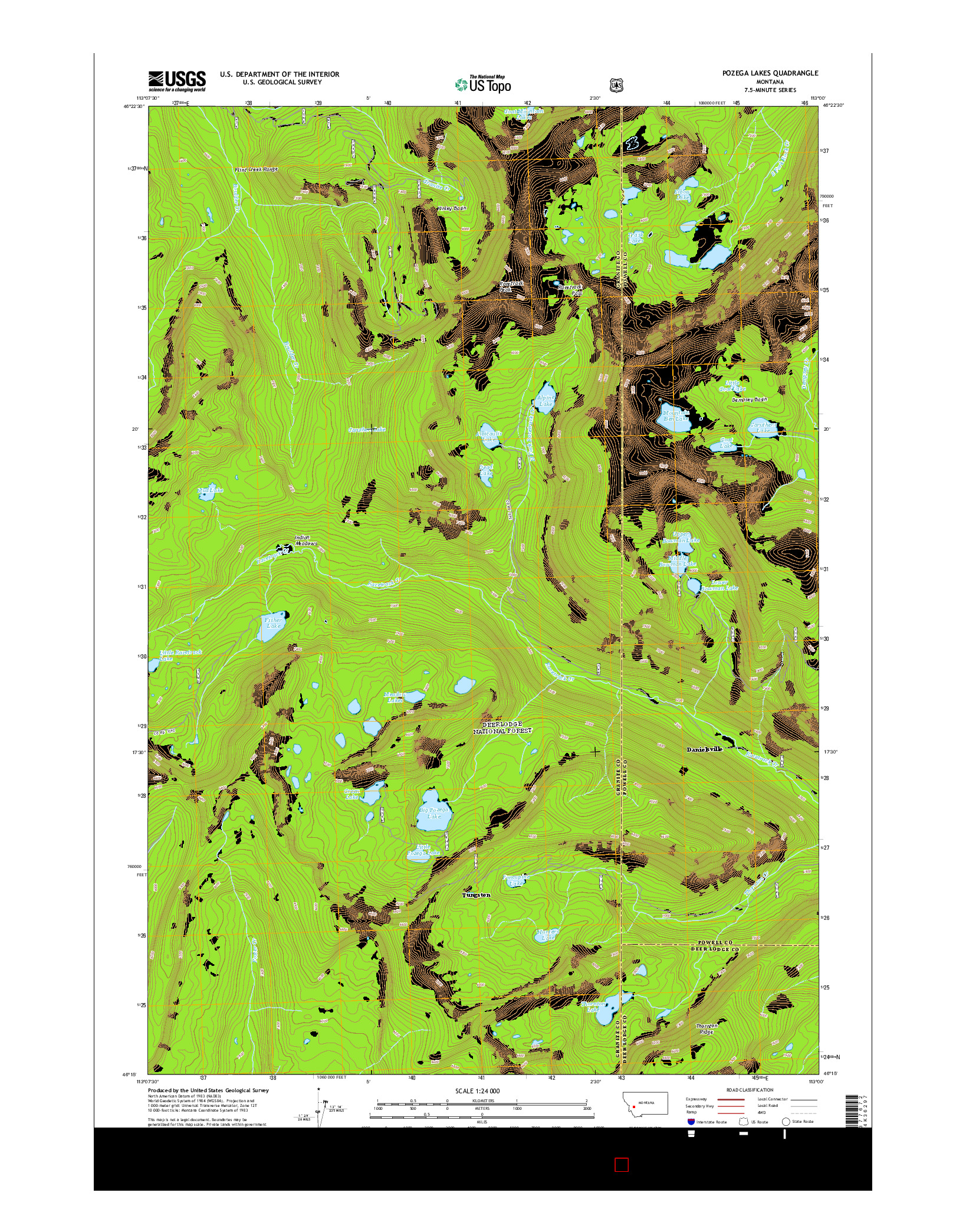 USGS US TOPO 7.5-MINUTE MAP FOR POZEGA LAKES, MT 2014