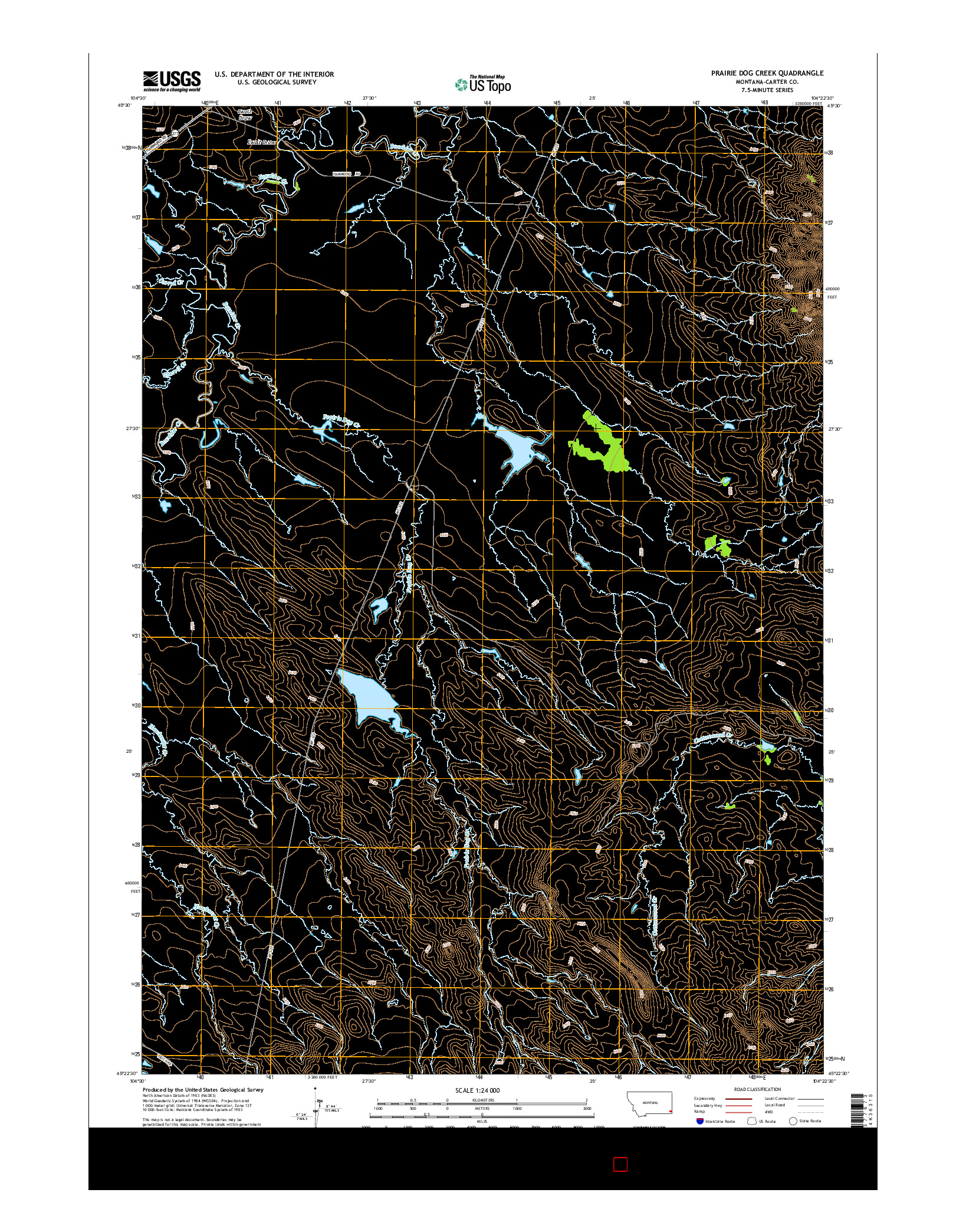 USGS US TOPO 7.5-MINUTE MAP FOR PRAIRIE DOG CREEK, MT 2014