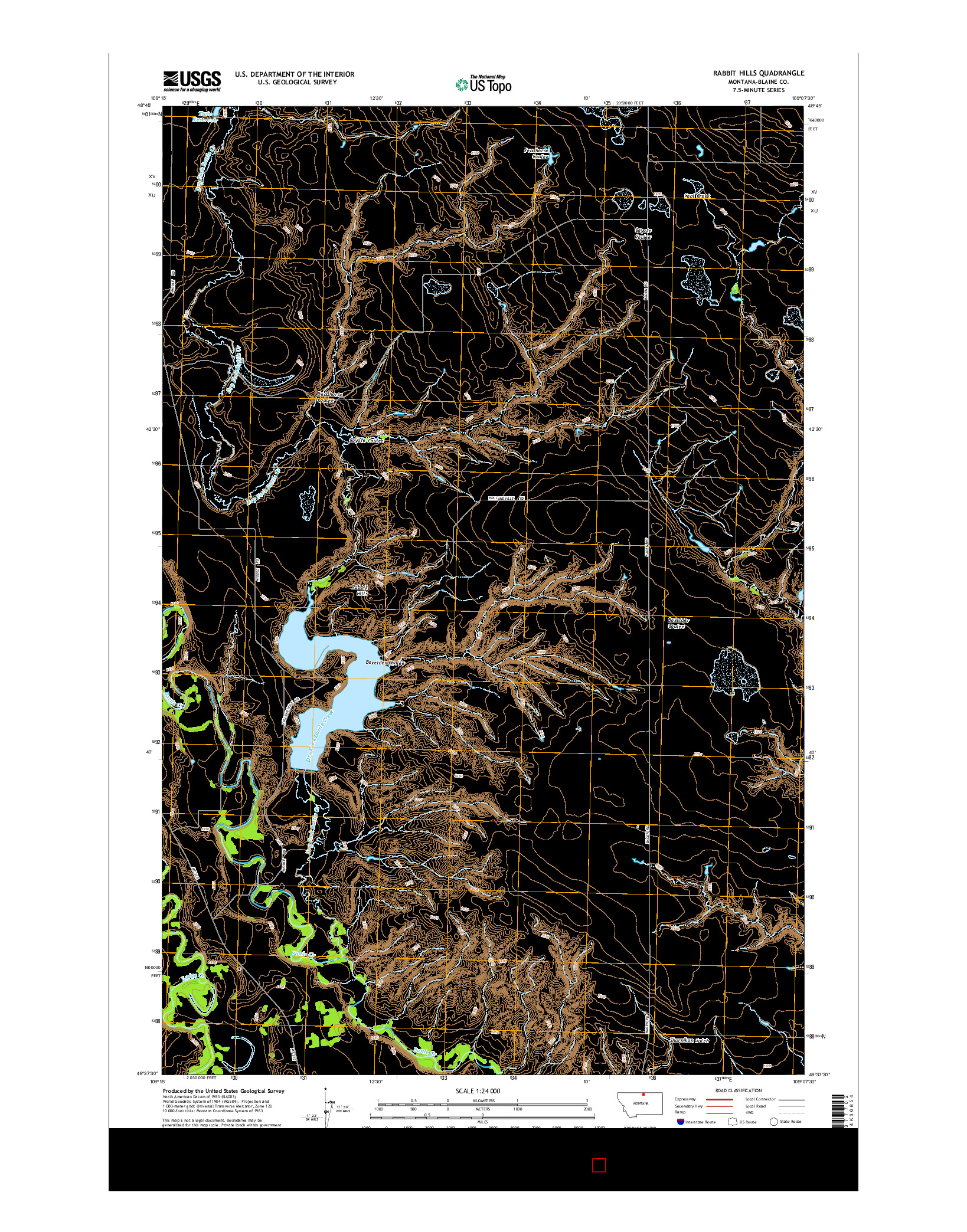 USGS US TOPO 7.5-MINUTE MAP FOR RABBIT HILLS, MT 2014