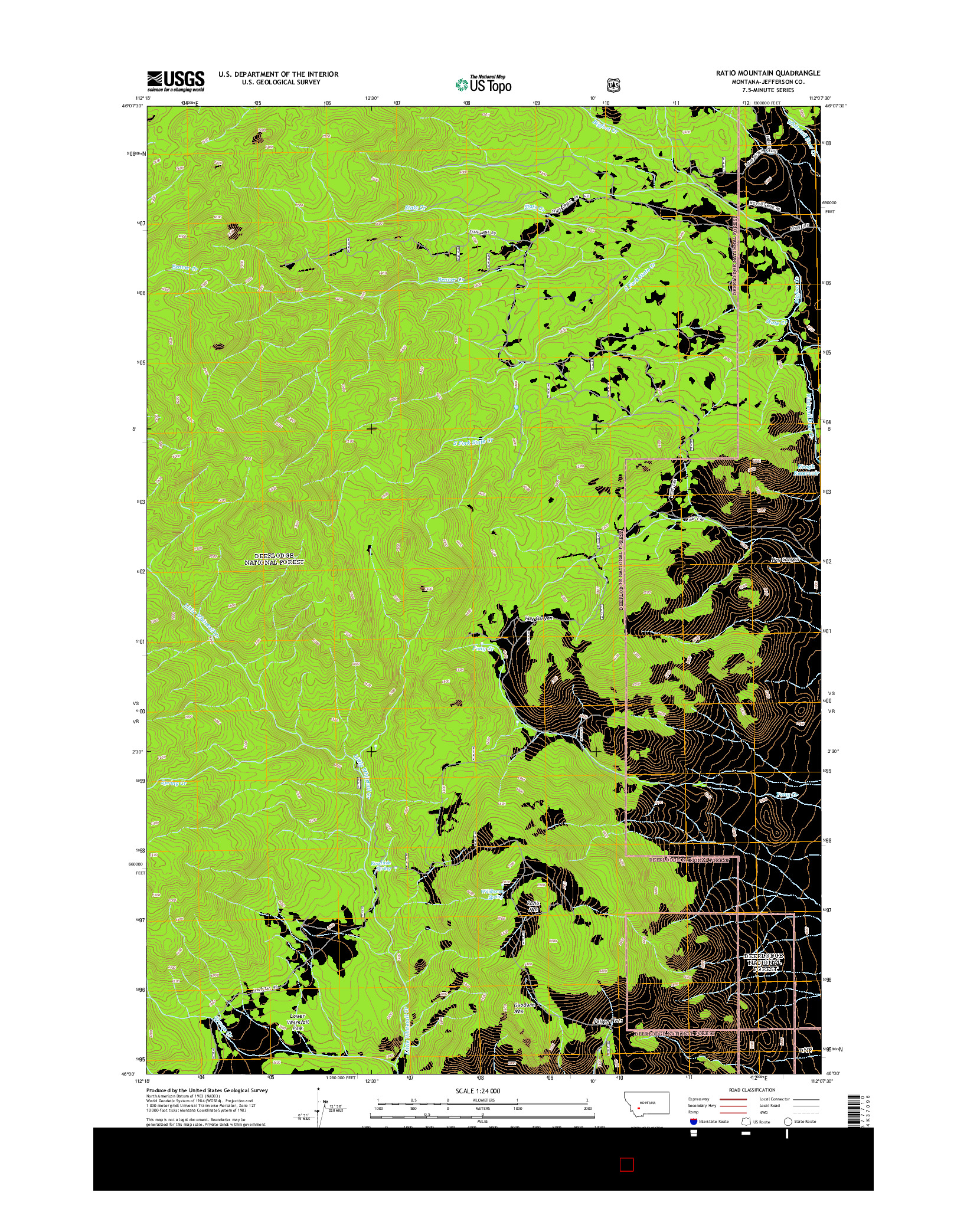 USGS US TOPO 7.5-MINUTE MAP FOR RATIO MOUNTAIN, MT 2014