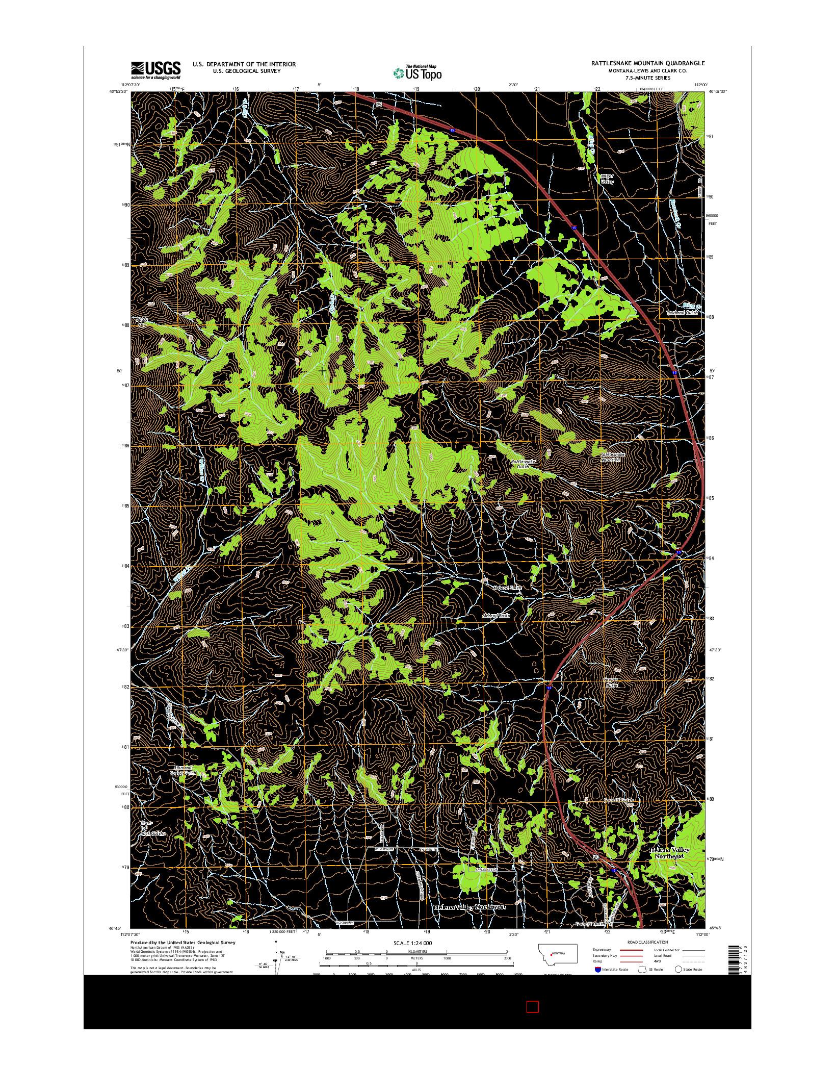 USGS US TOPO 7.5-MINUTE MAP FOR RATTLESNAKE MOUNTAIN, MT 2014