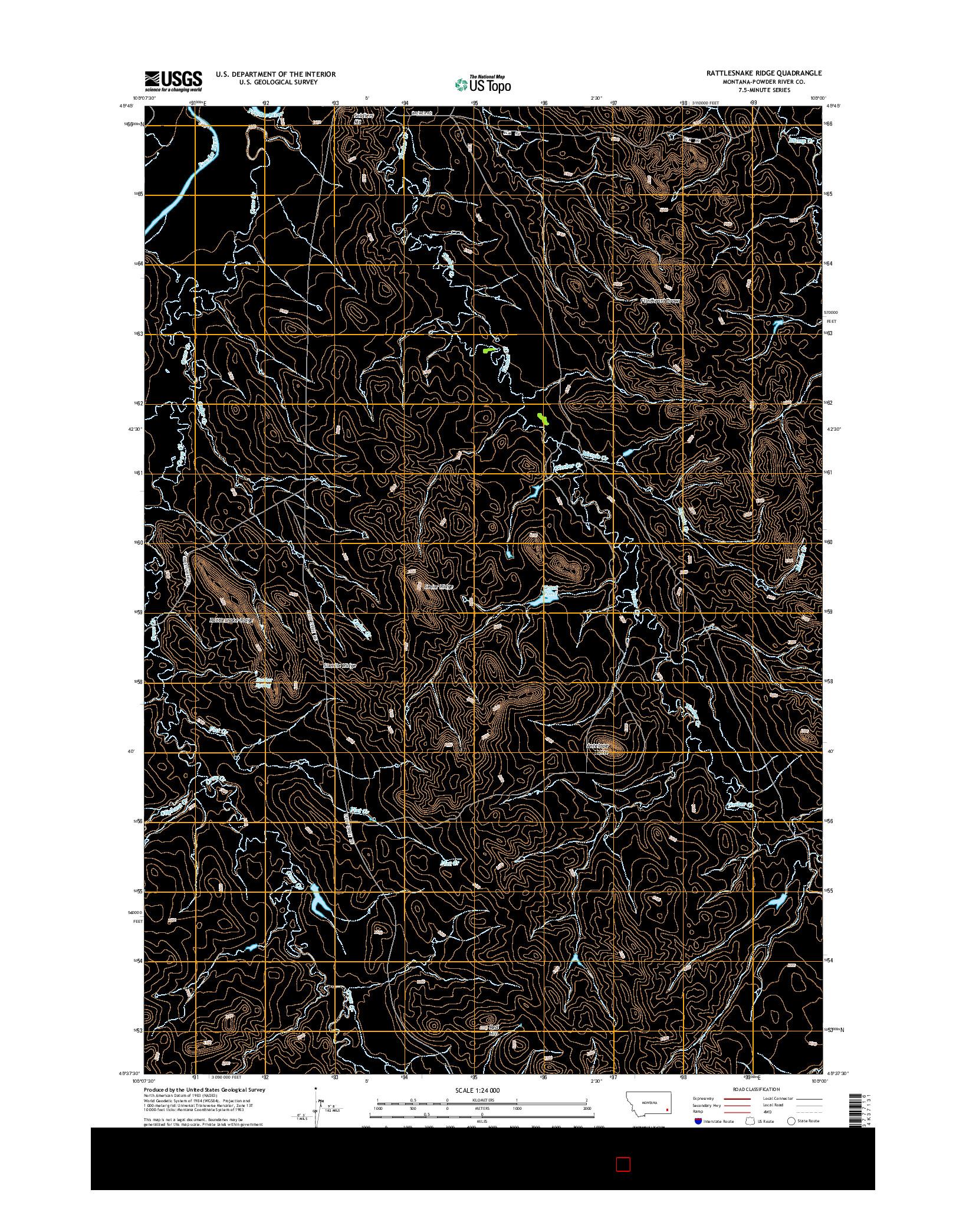USGS US TOPO 7.5-MINUTE MAP FOR RATTLESNAKE RIDGE, MT 2014