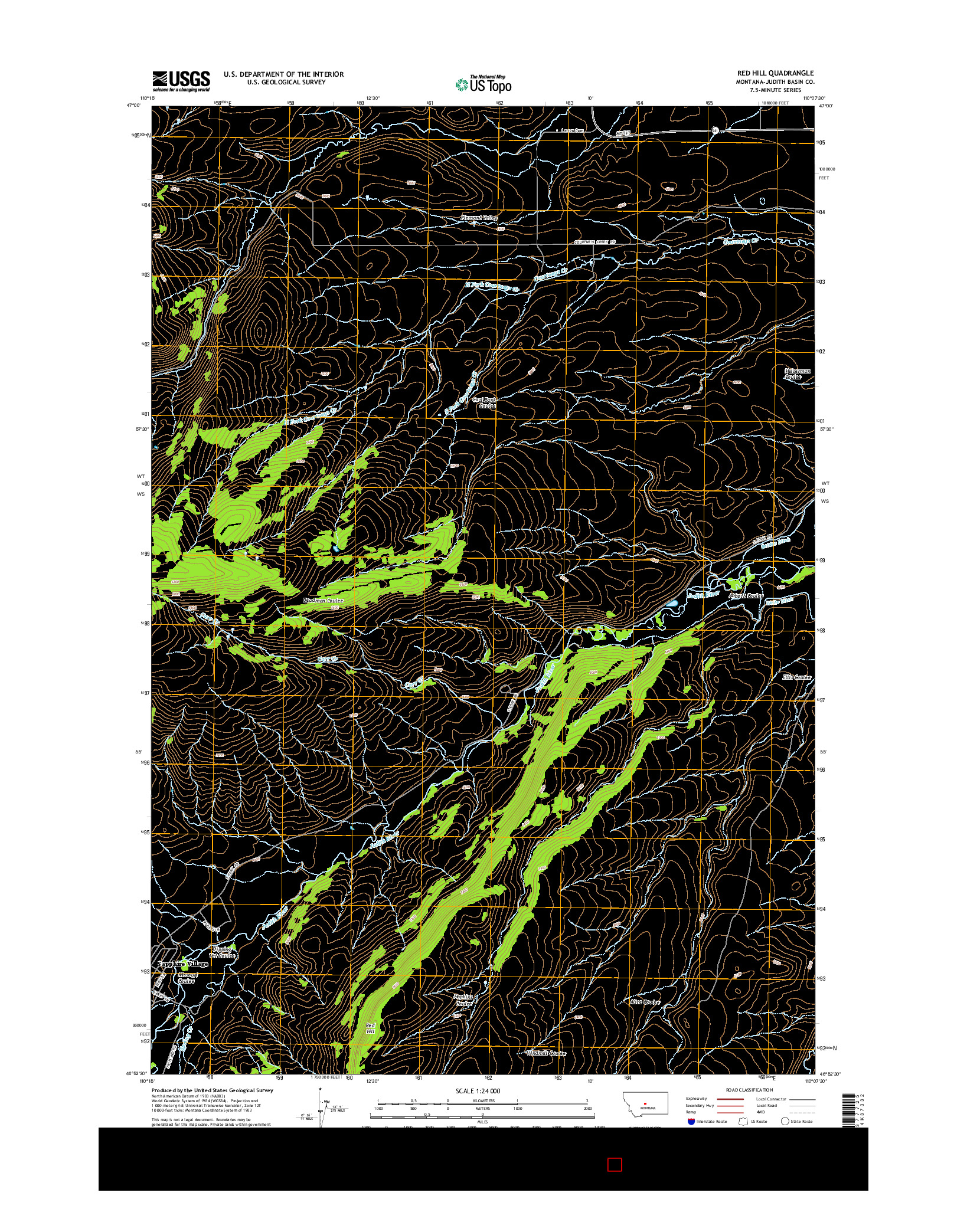 USGS US TOPO 7.5-MINUTE MAP FOR RED HILL, MT 2014