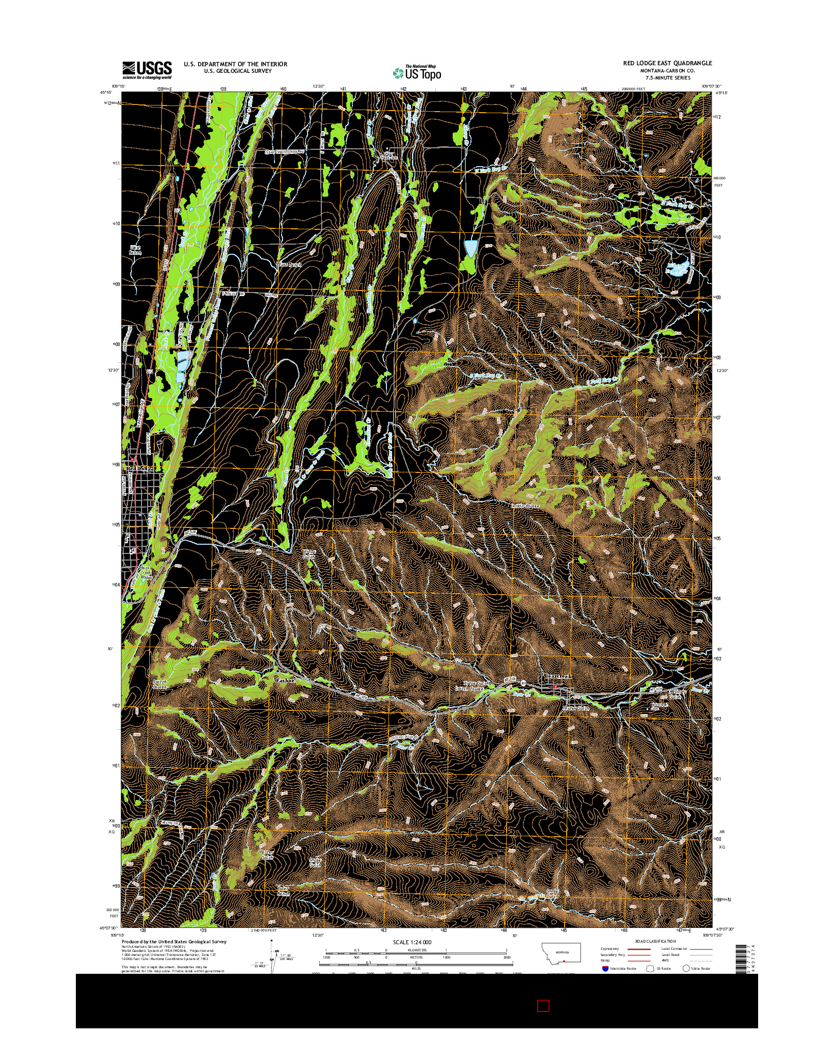 USGS US TOPO 7.5-MINUTE MAP FOR RED LODGE EAST, MT 2014