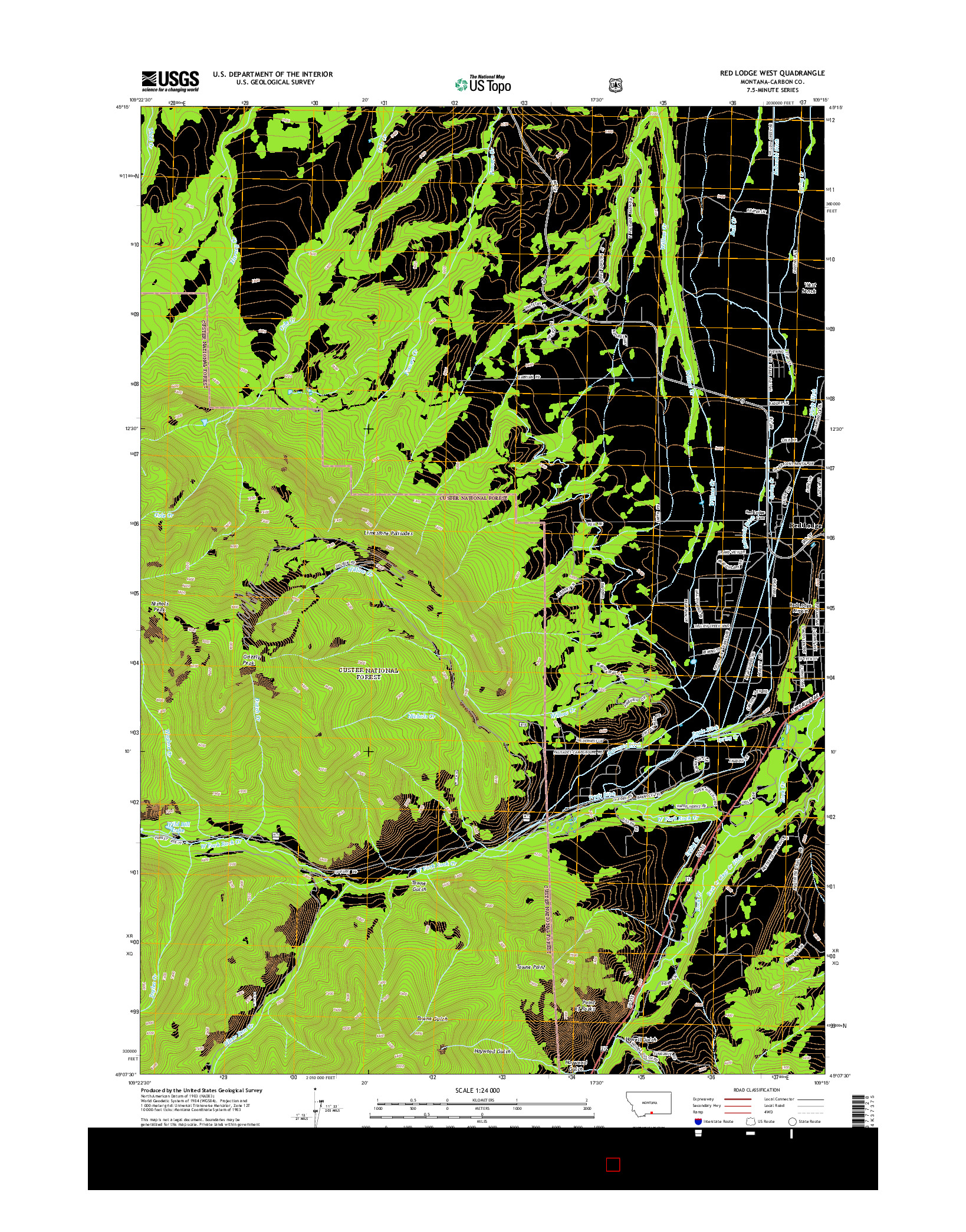 USGS US TOPO 7.5-MINUTE MAP FOR RED LODGE WEST, MT 2014