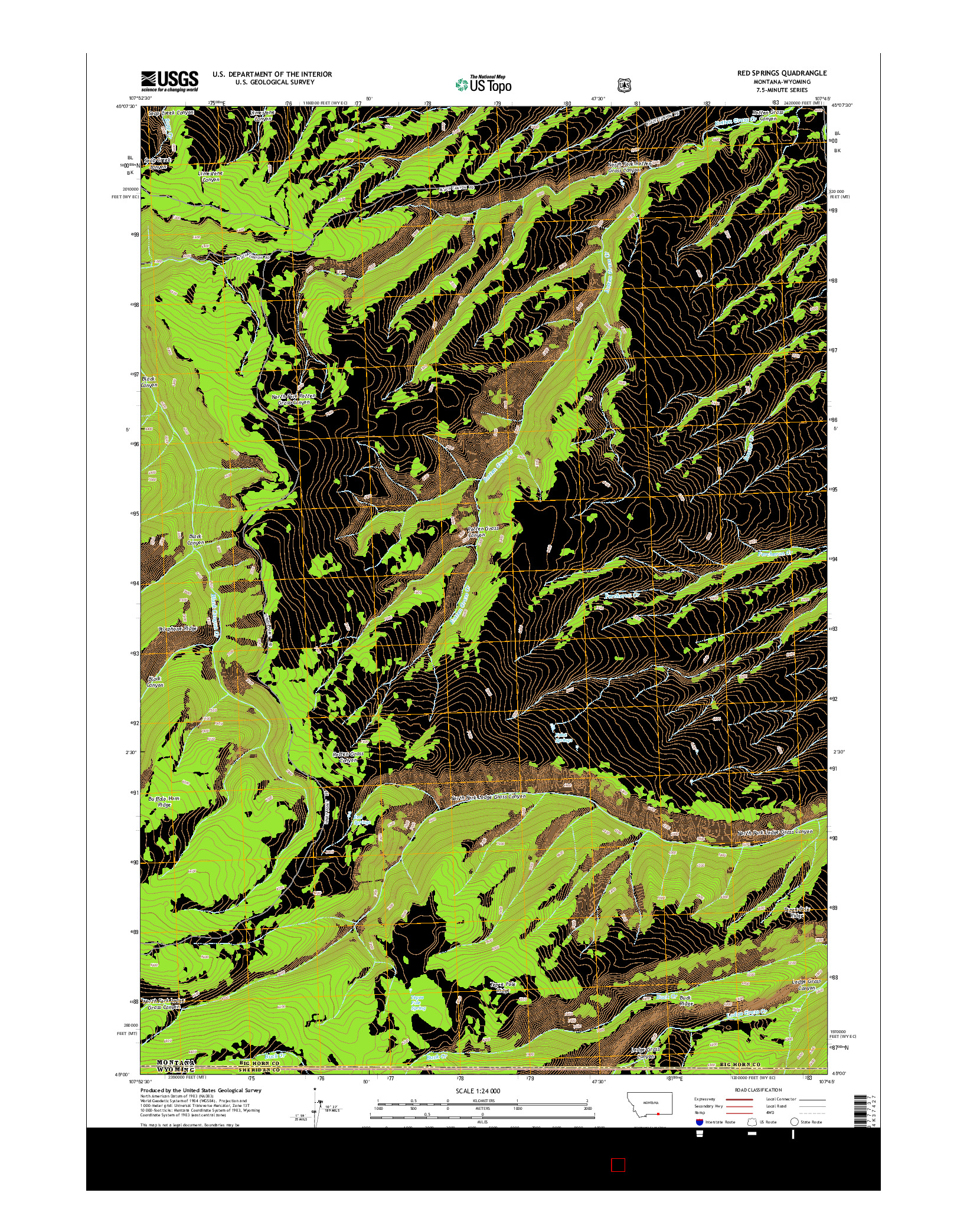USGS US TOPO 7.5-MINUTE MAP FOR RED SPRINGS, MT-WY 2014