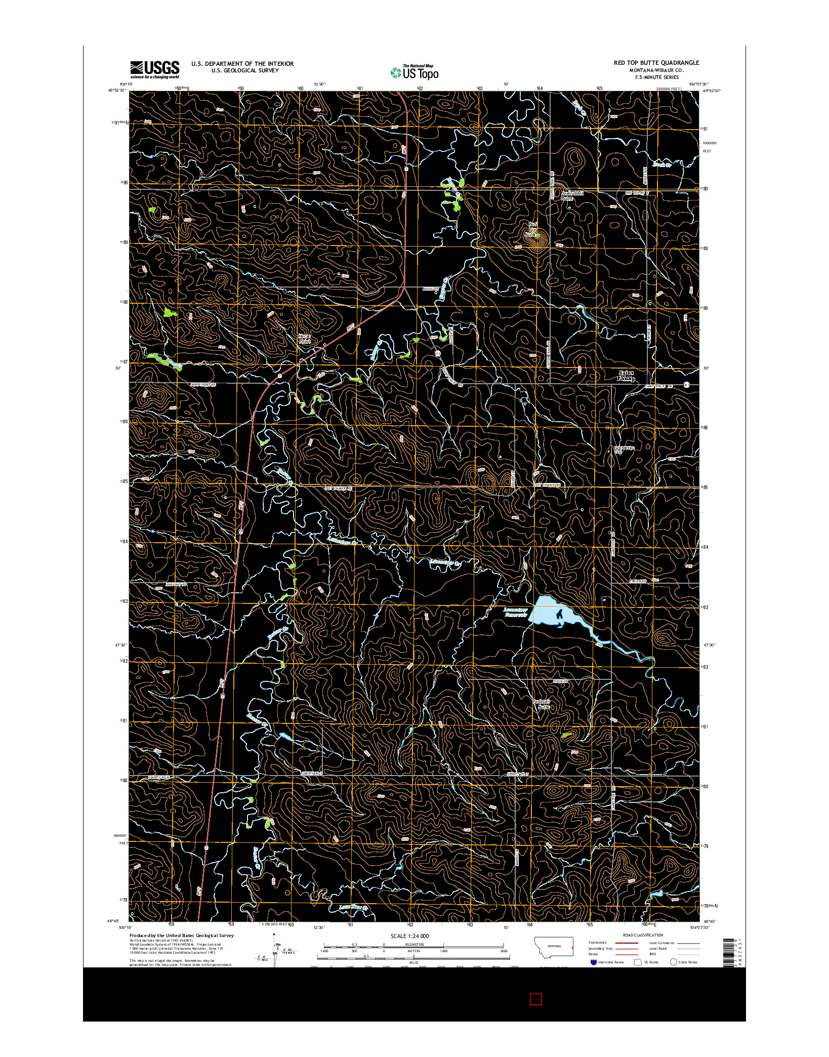 USGS US TOPO 7.5-MINUTE MAP FOR RED TOP BUTTE, MT 2014