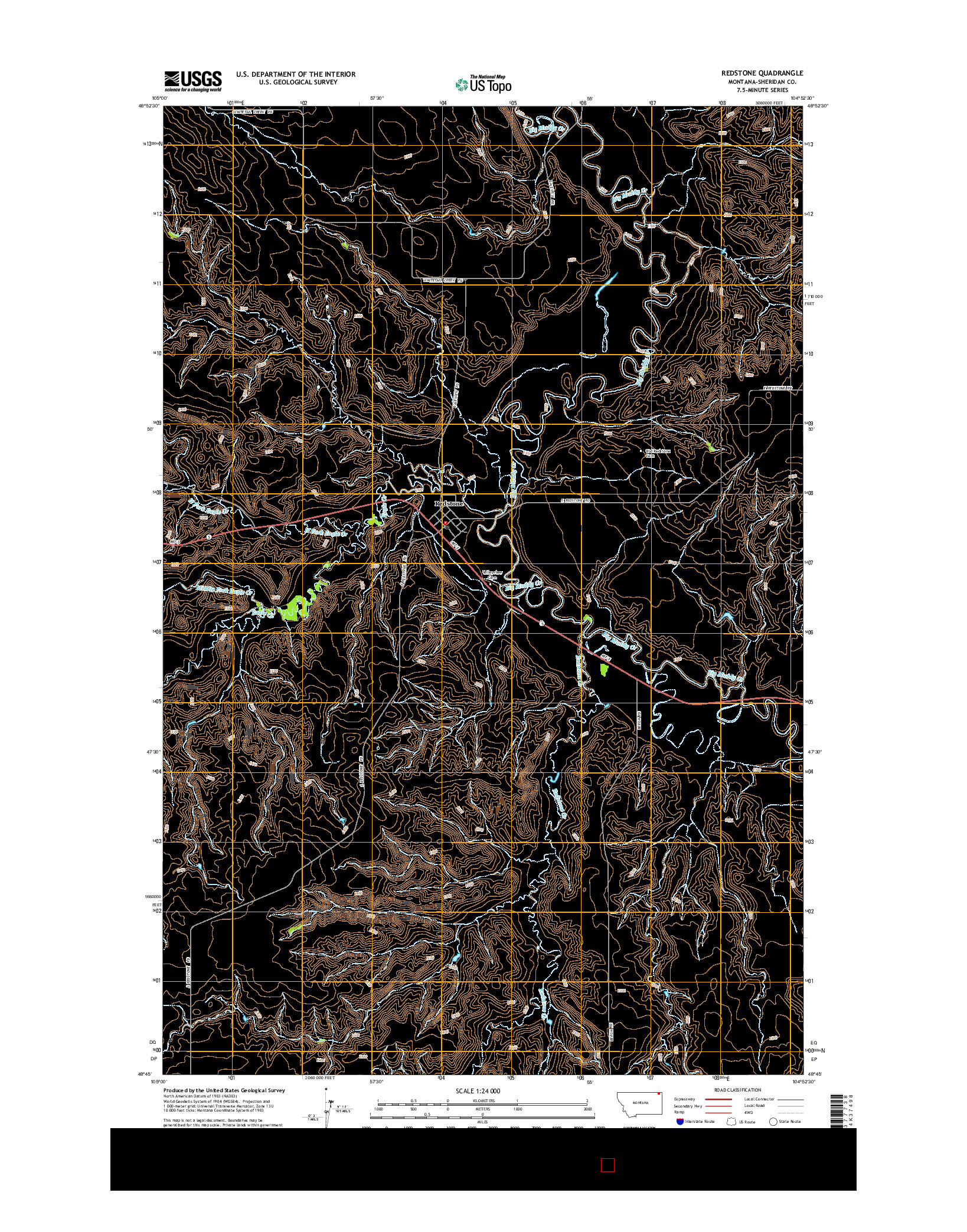 USGS US TOPO 7.5-MINUTE MAP FOR REDSTONE, MT 2014
