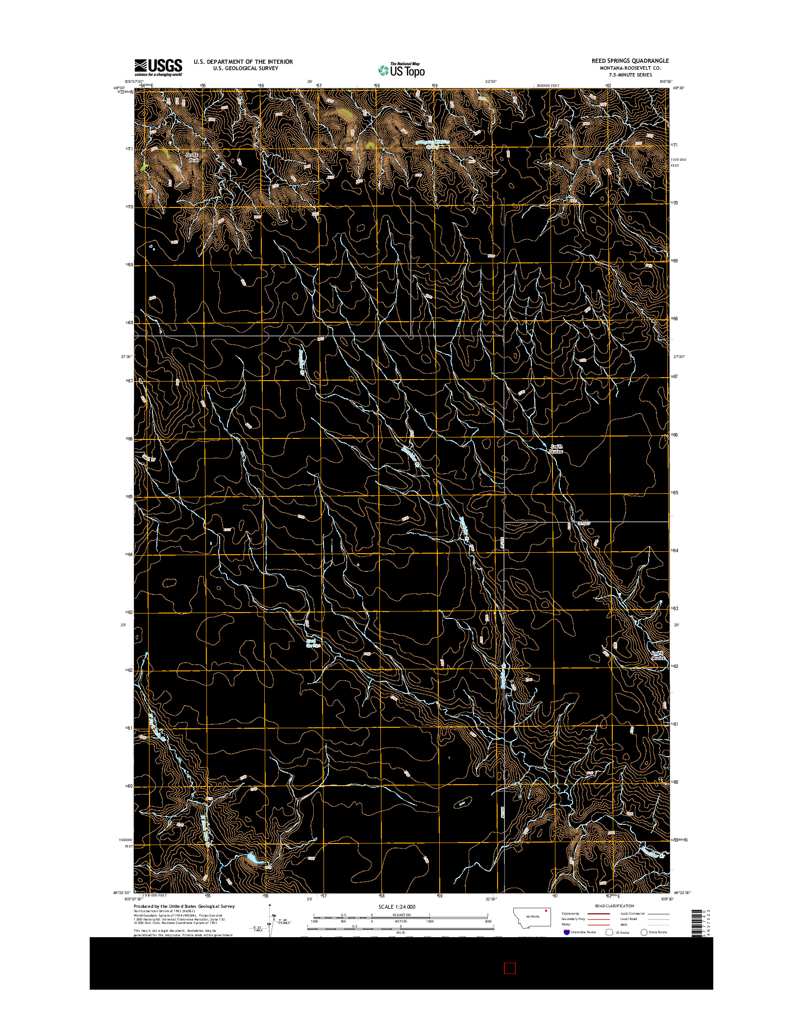 USGS US TOPO 7.5-MINUTE MAP FOR REED SPRINGS, MT 2014