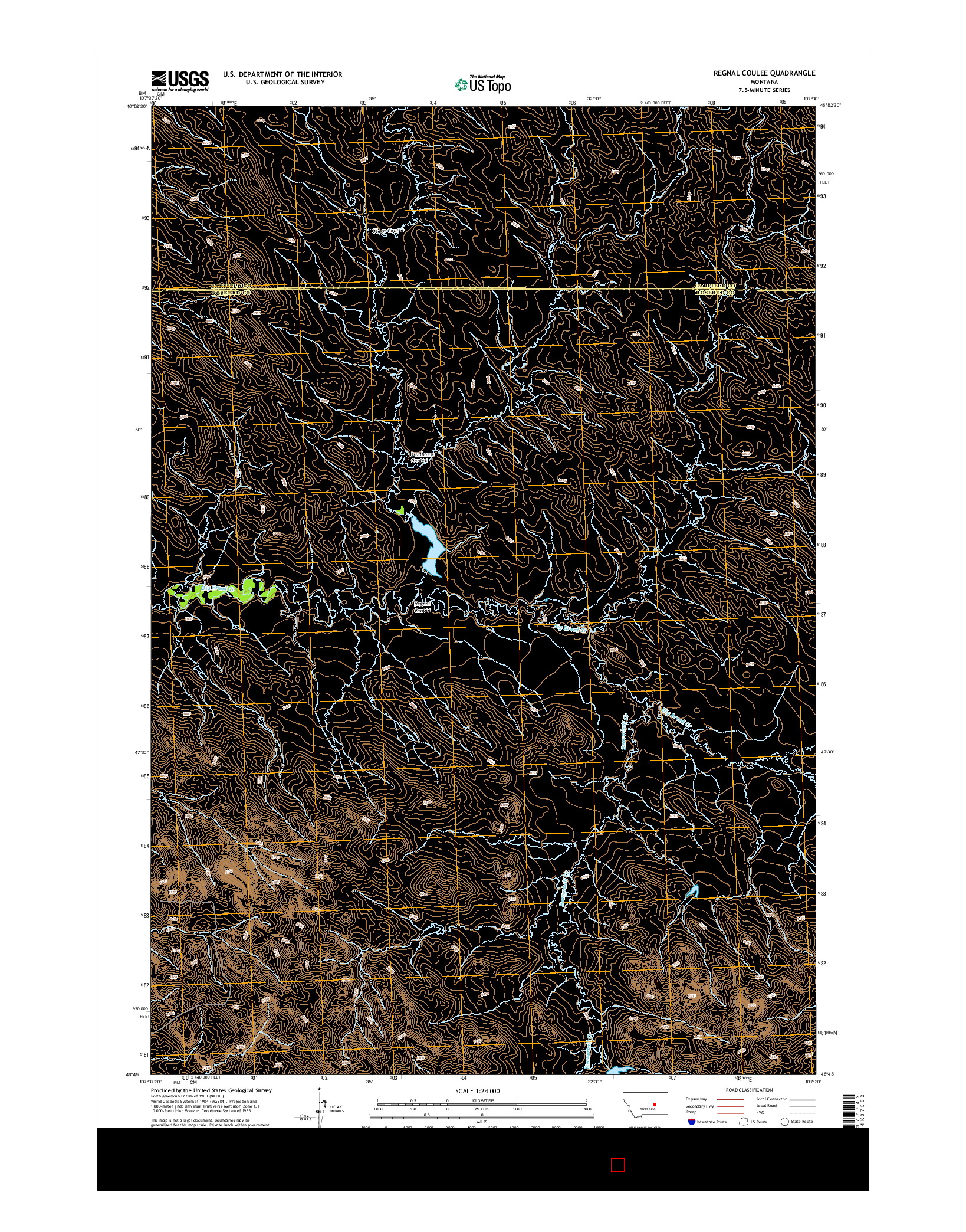 USGS US TOPO 7.5-MINUTE MAP FOR REGNAL COULEE, MT 2014