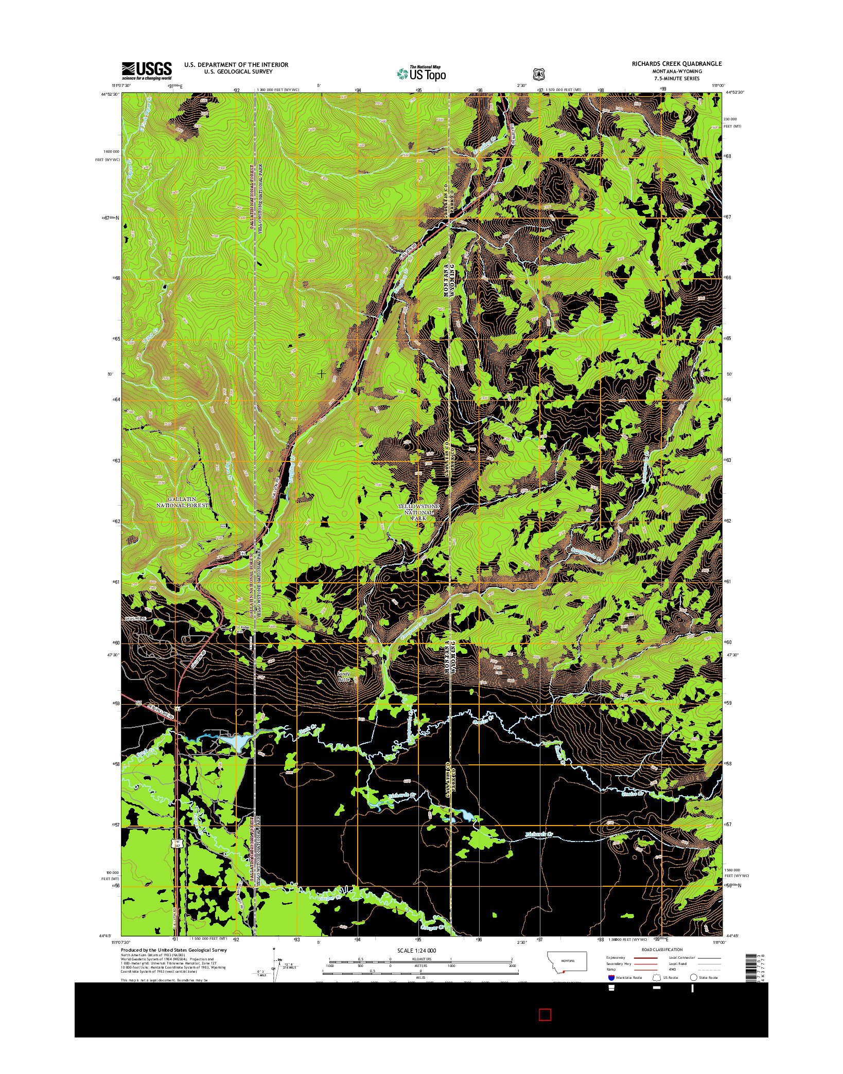 USGS US TOPO 7.5-MINUTE MAP FOR RICHARDS CREEK, MT-WY 2014