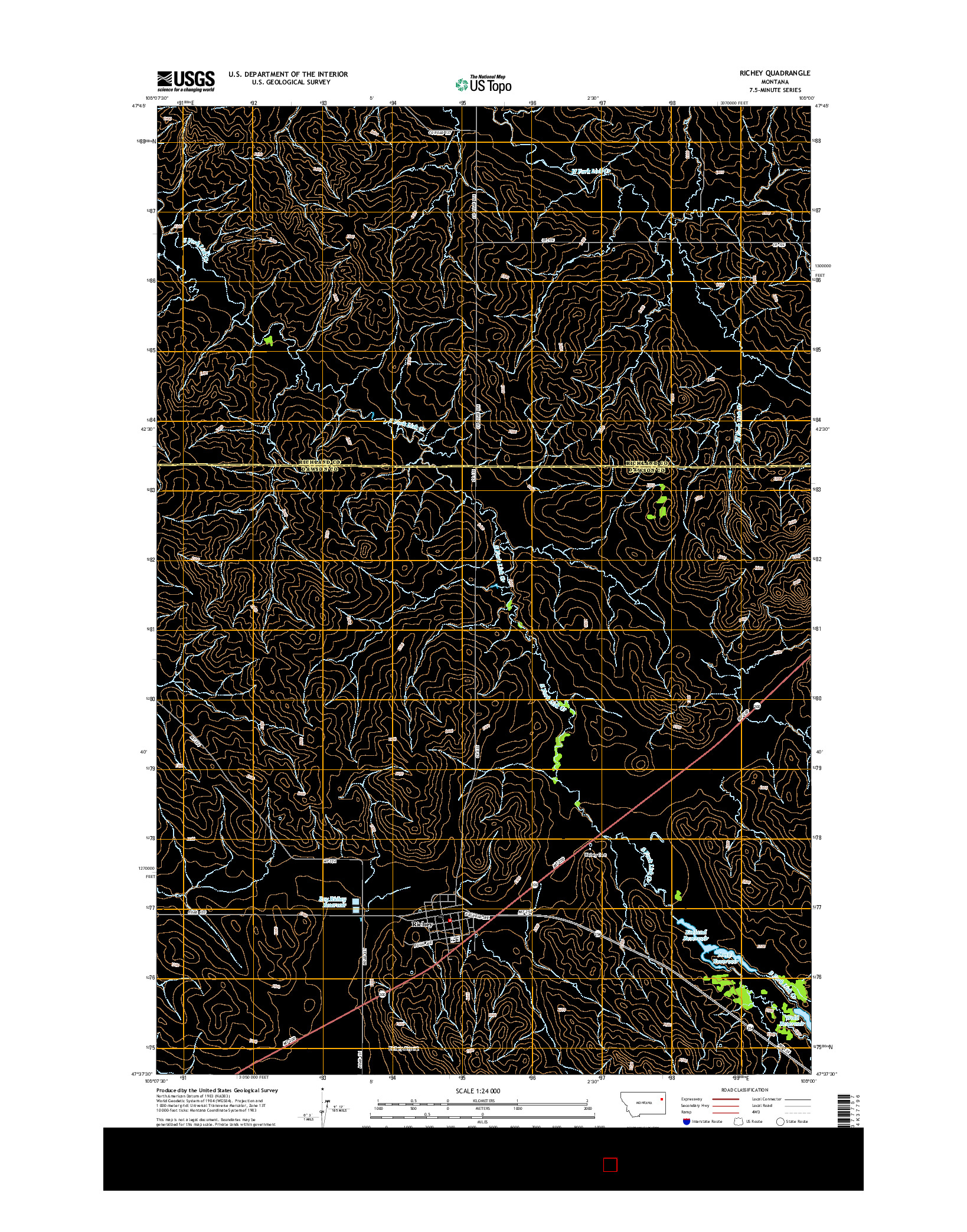 USGS US TOPO 7.5-MINUTE MAP FOR RICHEY, MT 2014