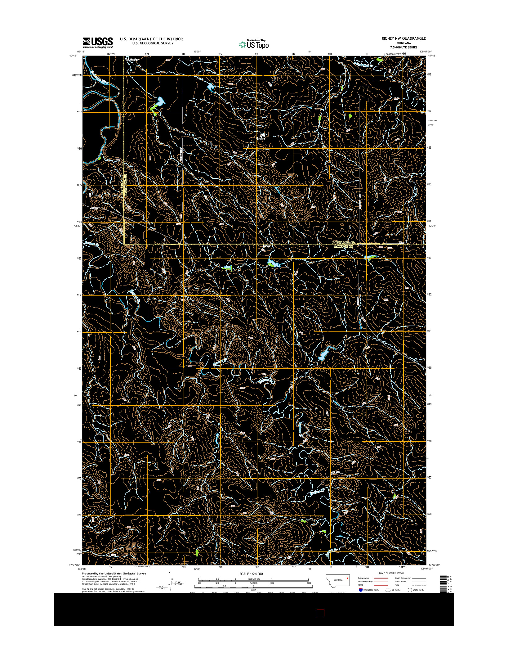 USGS US TOPO 7.5-MINUTE MAP FOR RICHEY NW, MT 2014
