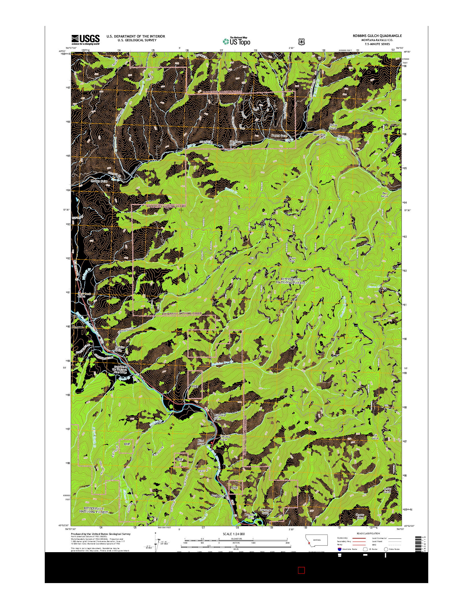 USGS US TOPO 7.5-MINUTE MAP FOR ROBBINS GULCH, MT 2014