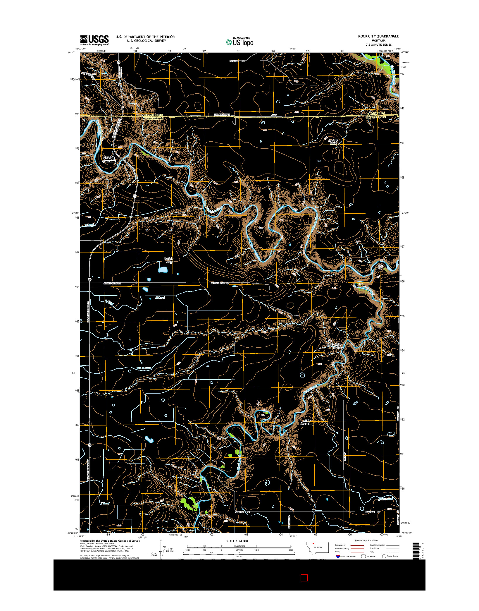 USGS US TOPO 7.5-MINUTE MAP FOR ROCK CITY, MT 2014