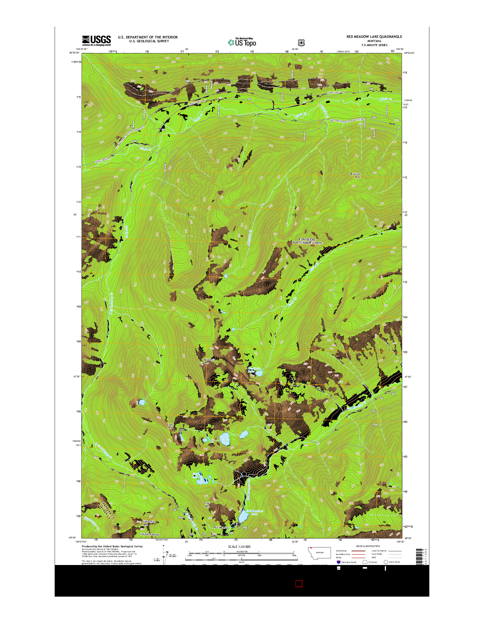 USGS US TOPO 7.5-MINUTE MAP FOR RED MEADOW LAKE, MT 2014