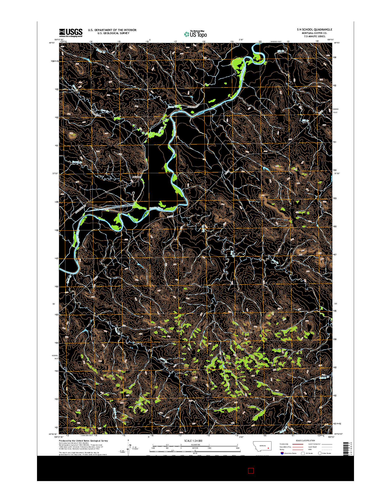 USGS US TOPO 7.5-MINUTE MAP FOR S H SCHOOL, MT 2014