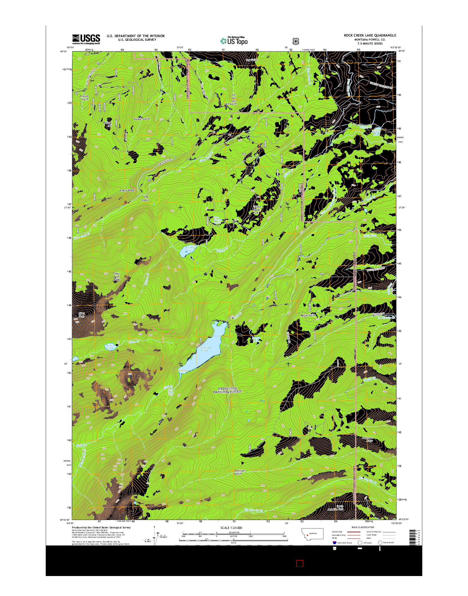 USGS US TOPO 7.5-MINUTE MAP FOR ROCK CREEK LAKE, MT 2014