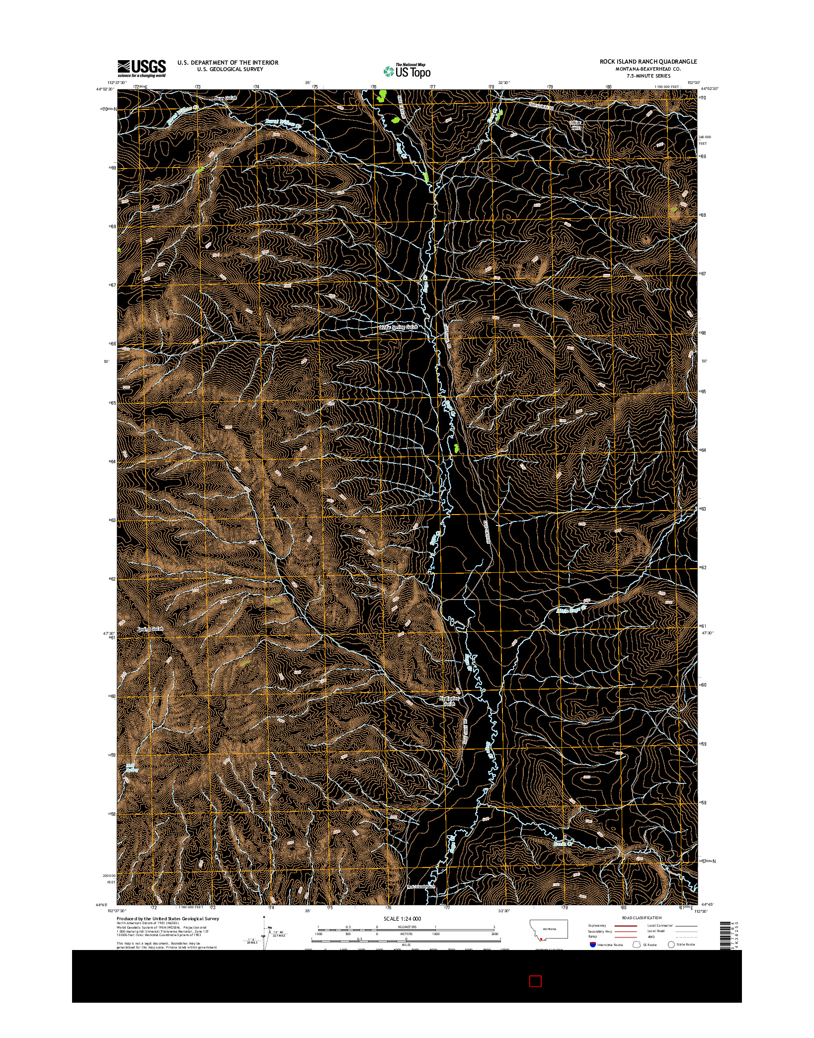 USGS US TOPO 7.5-MINUTE MAP FOR ROCK ISLAND RANCH, MT 2014