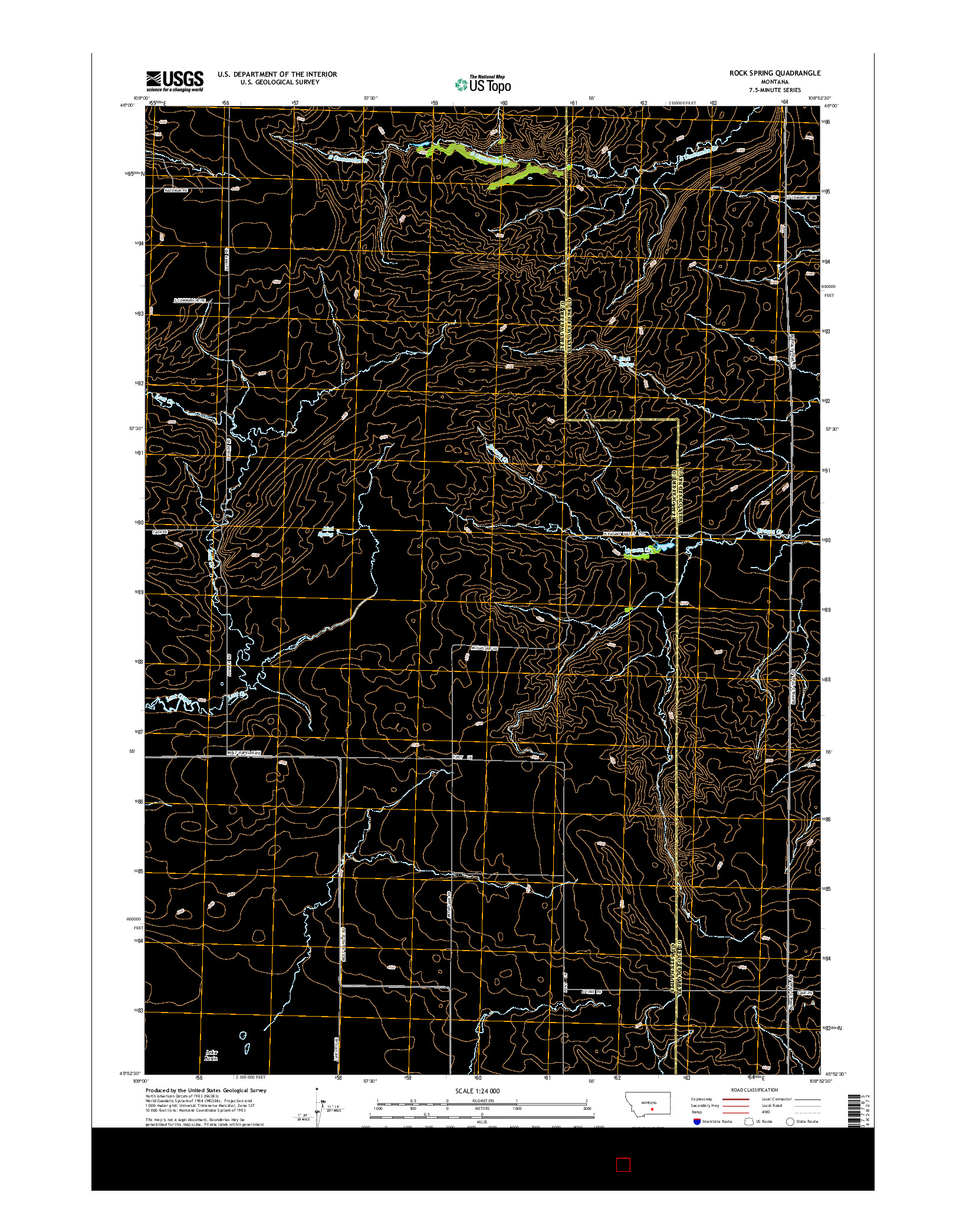 USGS US TOPO 7.5-MINUTE MAP FOR ROCK SPRING, MT 2014