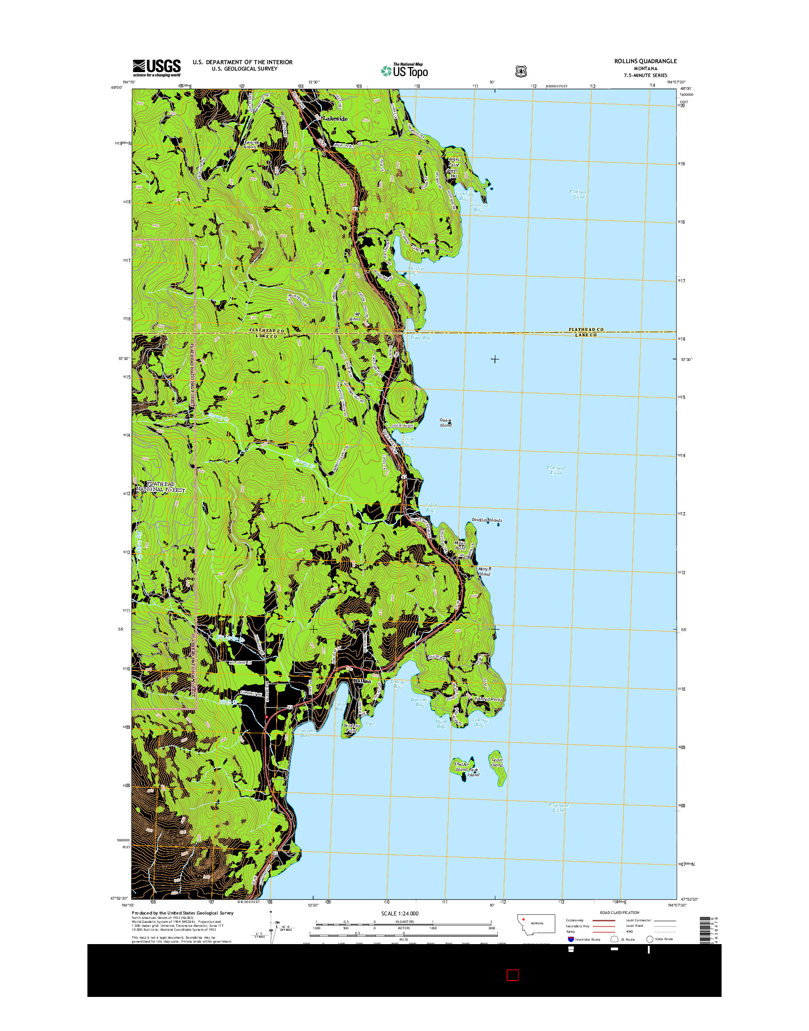 USGS US TOPO 7.5-MINUTE MAP FOR ROLLINS, MT 2014