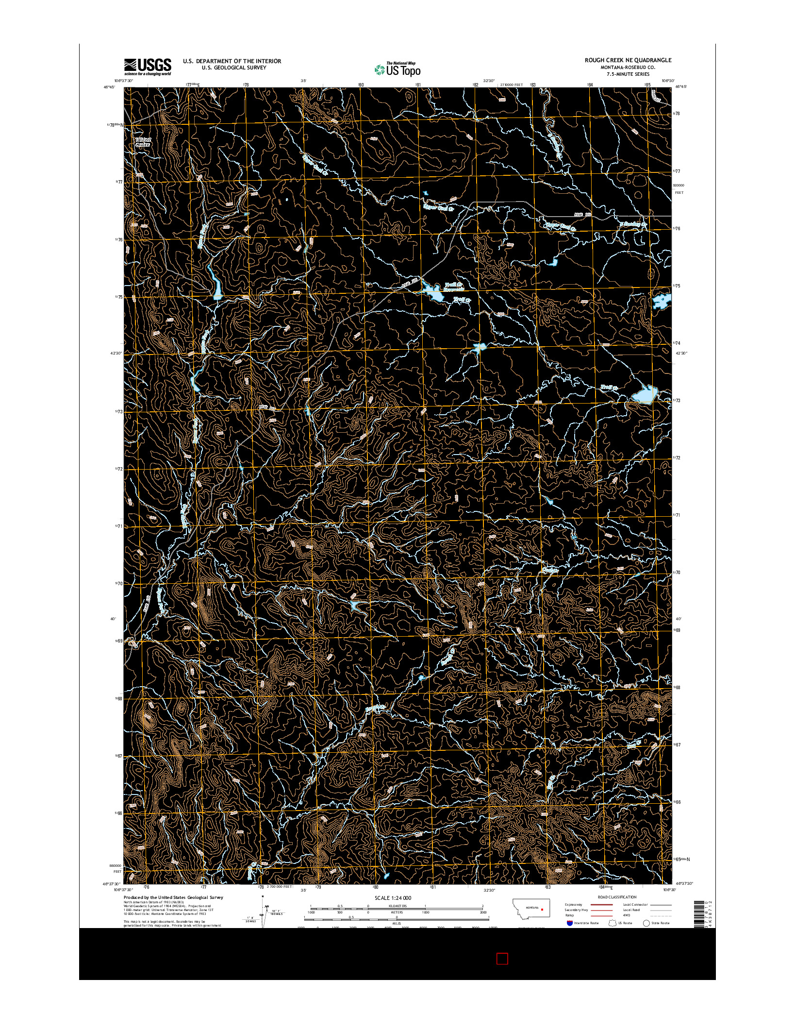 USGS US TOPO 7.5-MINUTE MAP FOR ROUGH CREEK NE, MT 2014