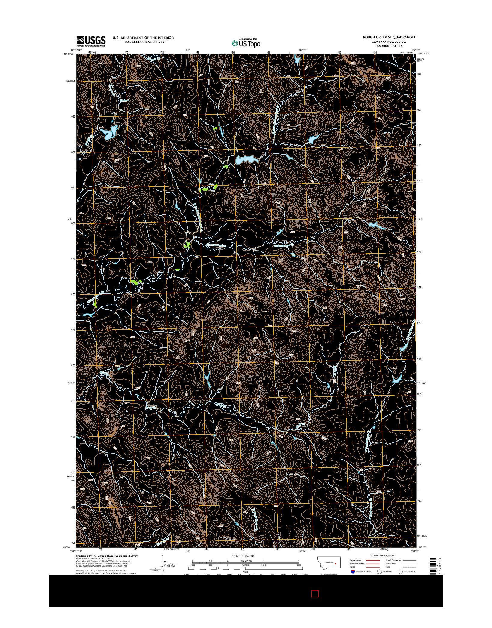 USGS US TOPO 7.5-MINUTE MAP FOR ROUGH CREEK SE, MT 2014