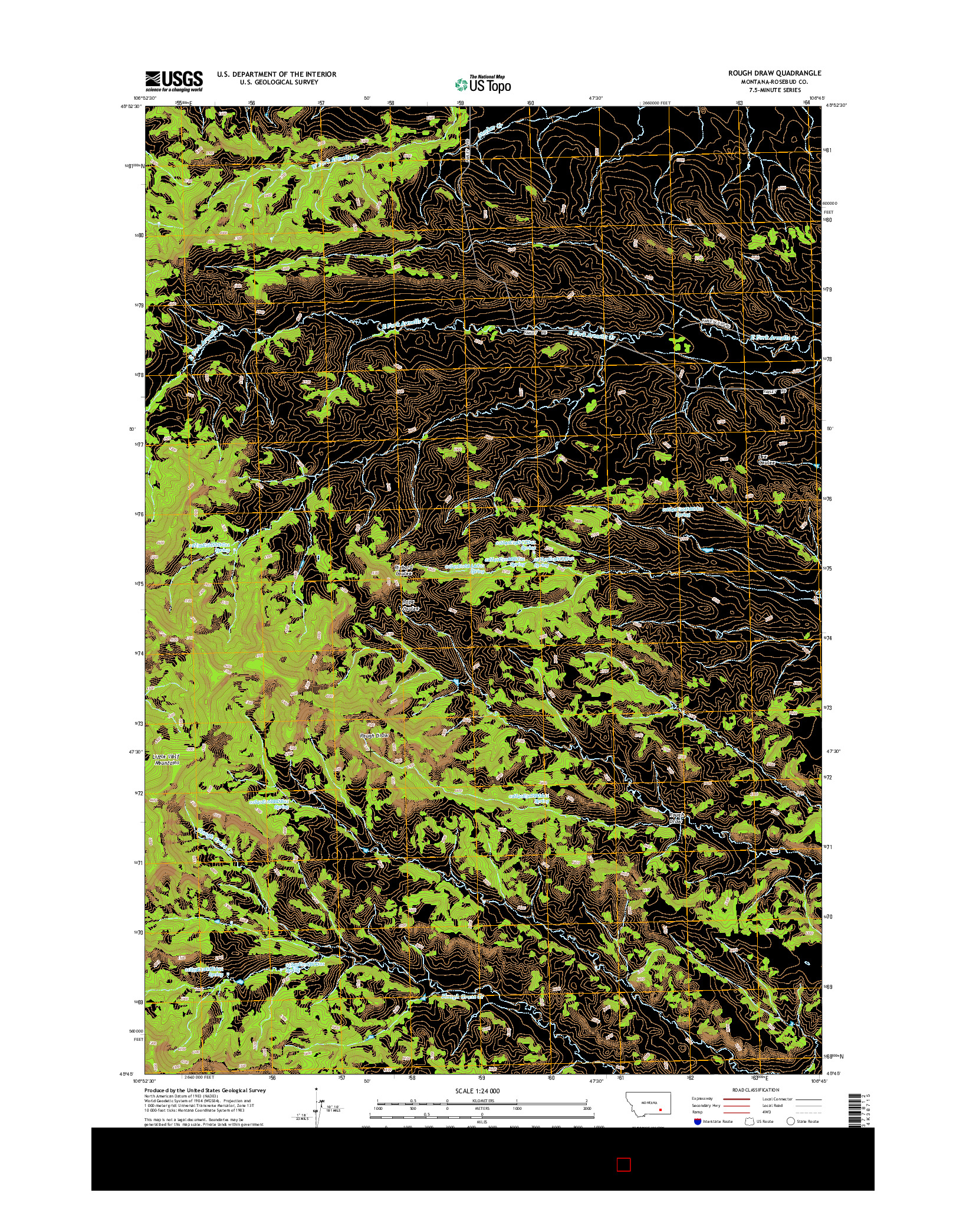 USGS US TOPO 7.5-MINUTE MAP FOR ROUGH DRAW, MT 2014