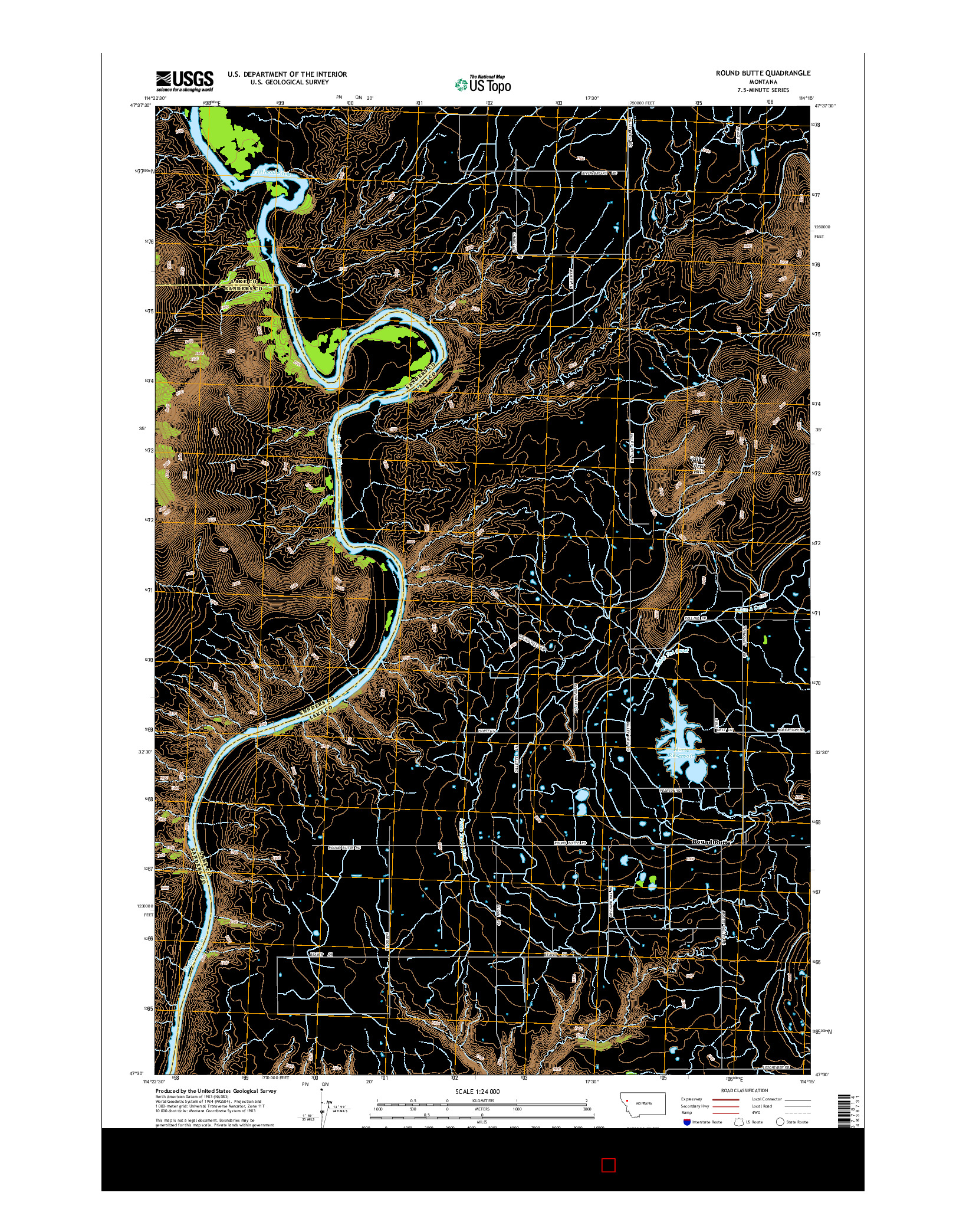 USGS US TOPO 7.5-MINUTE MAP FOR ROUND BUTTE, MT 2014