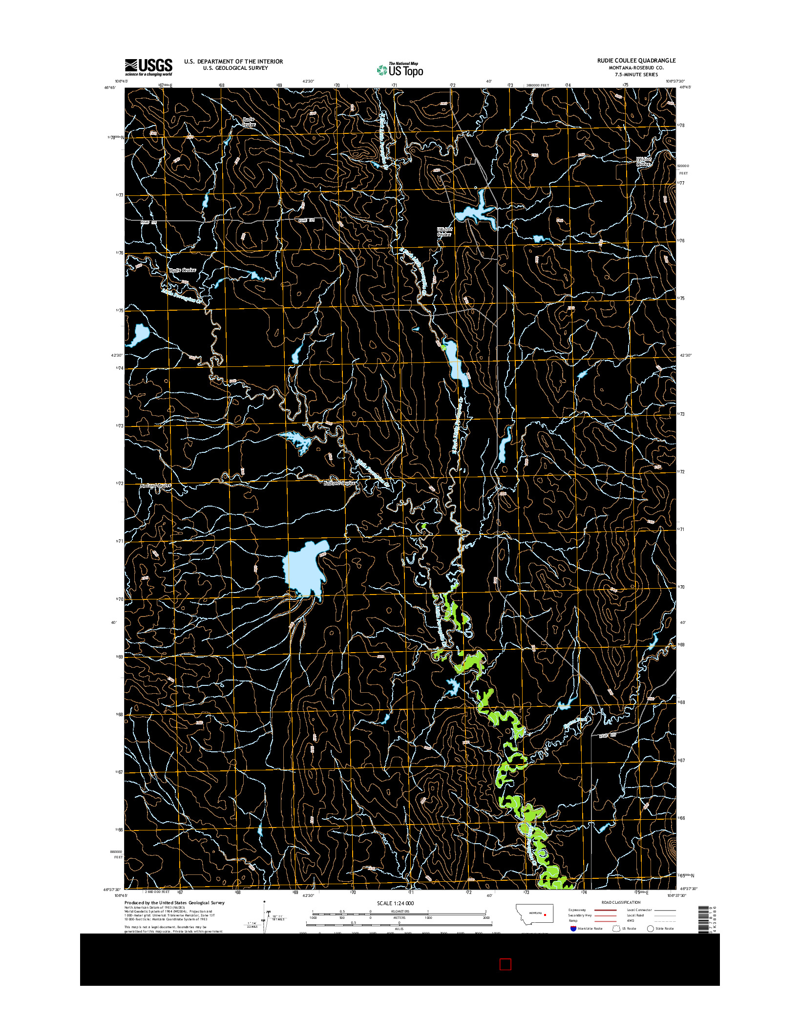 USGS US TOPO 7.5-MINUTE MAP FOR RUDIE COULEE, MT 2014