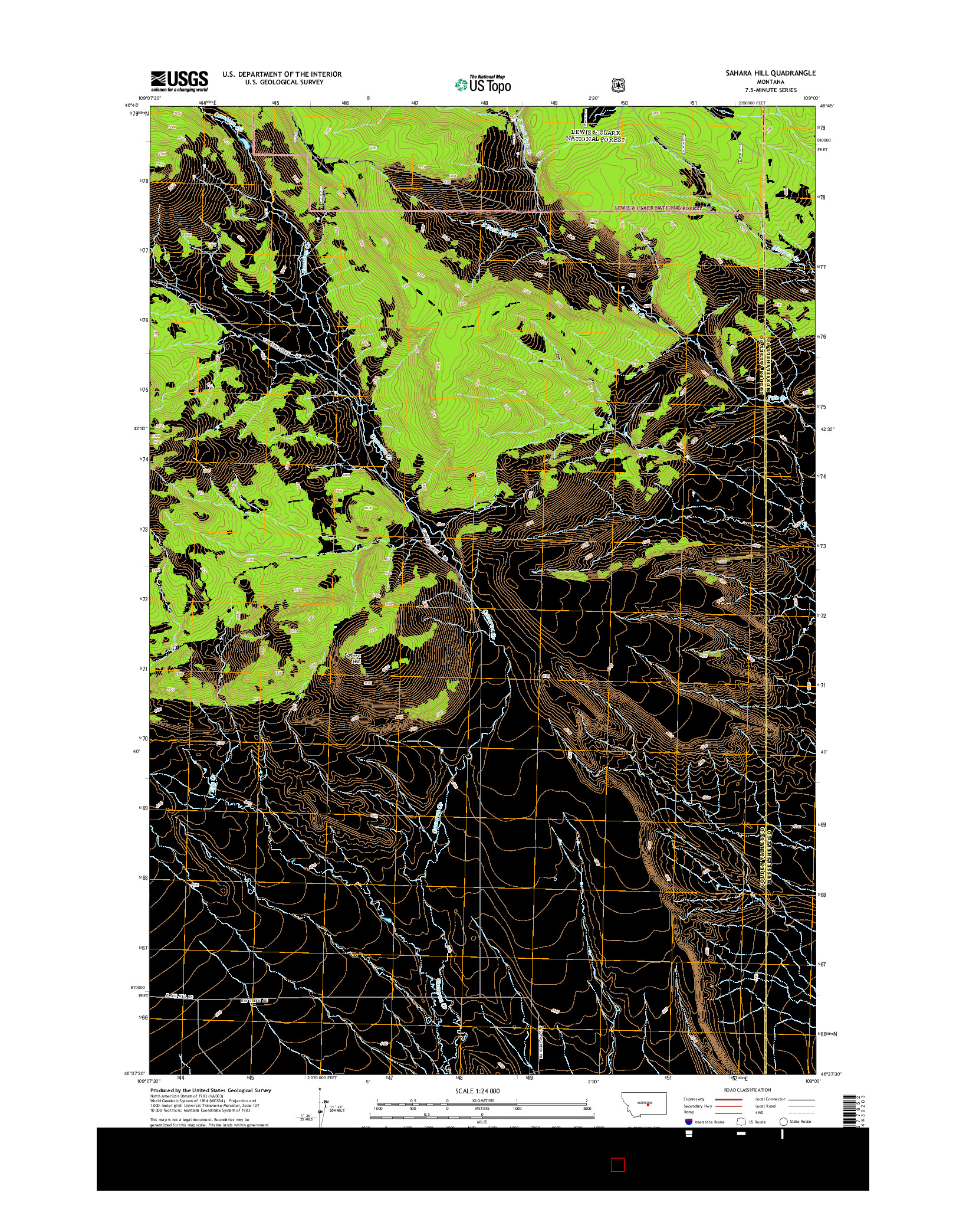 USGS US TOPO 7.5-MINUTE MAP FOR SAHARA HILL, MT 2014