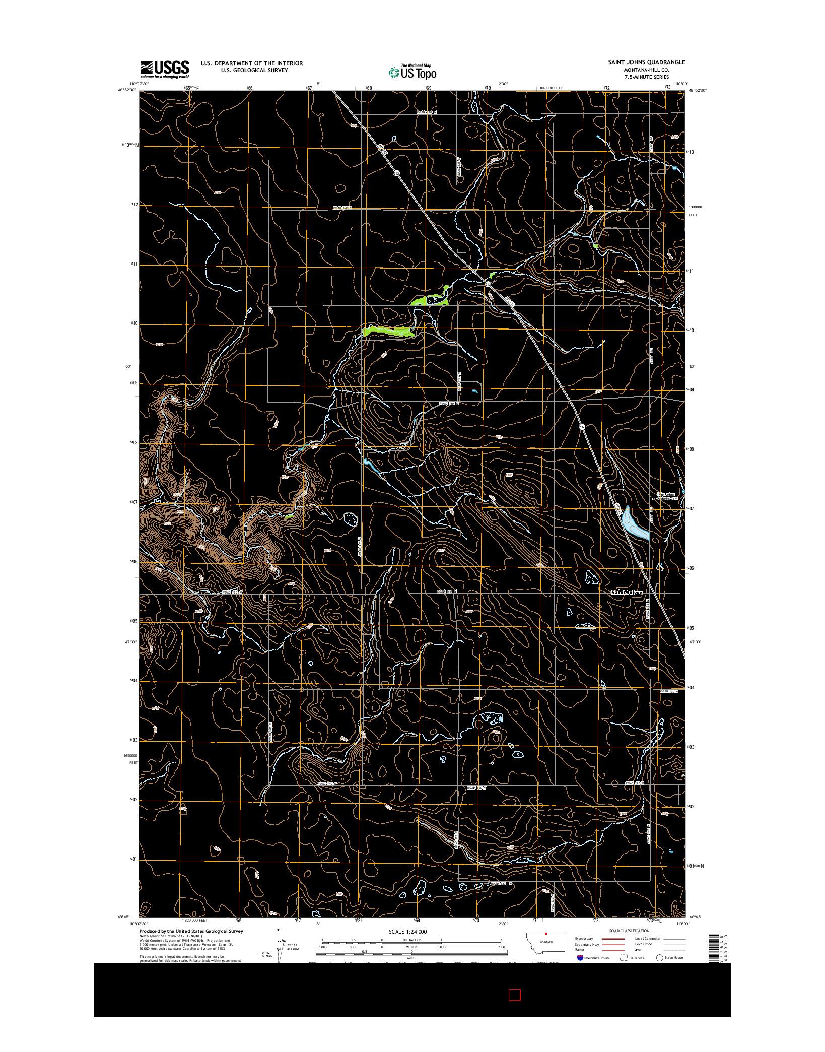 USGS US TOPO 7.5-MINUTE MAP FOR SAINT JOHNS, MT 2014