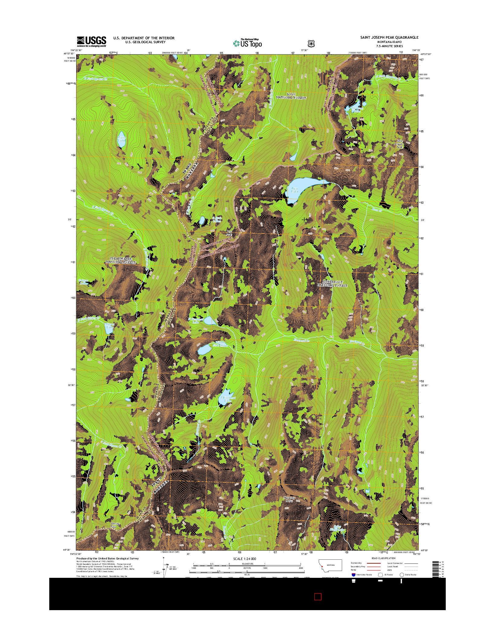 USGS US TOPO 7.5-MINUTE MAP FOR SAINT JOSEPH PEAK, MT-ID 2014