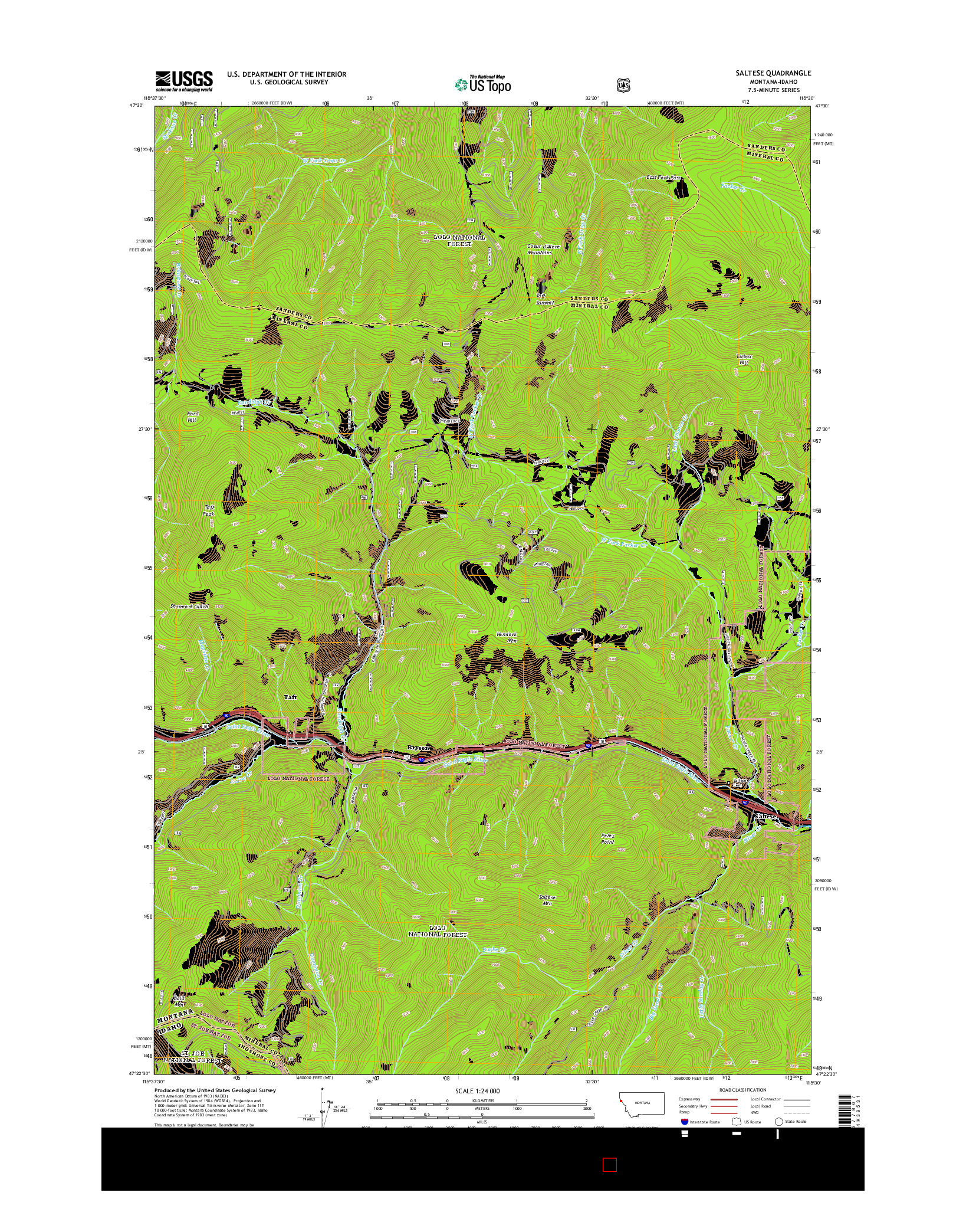 USGS US TOPO 7.5-MINUTE MAP FOR SALTESE, MT-ID 2014