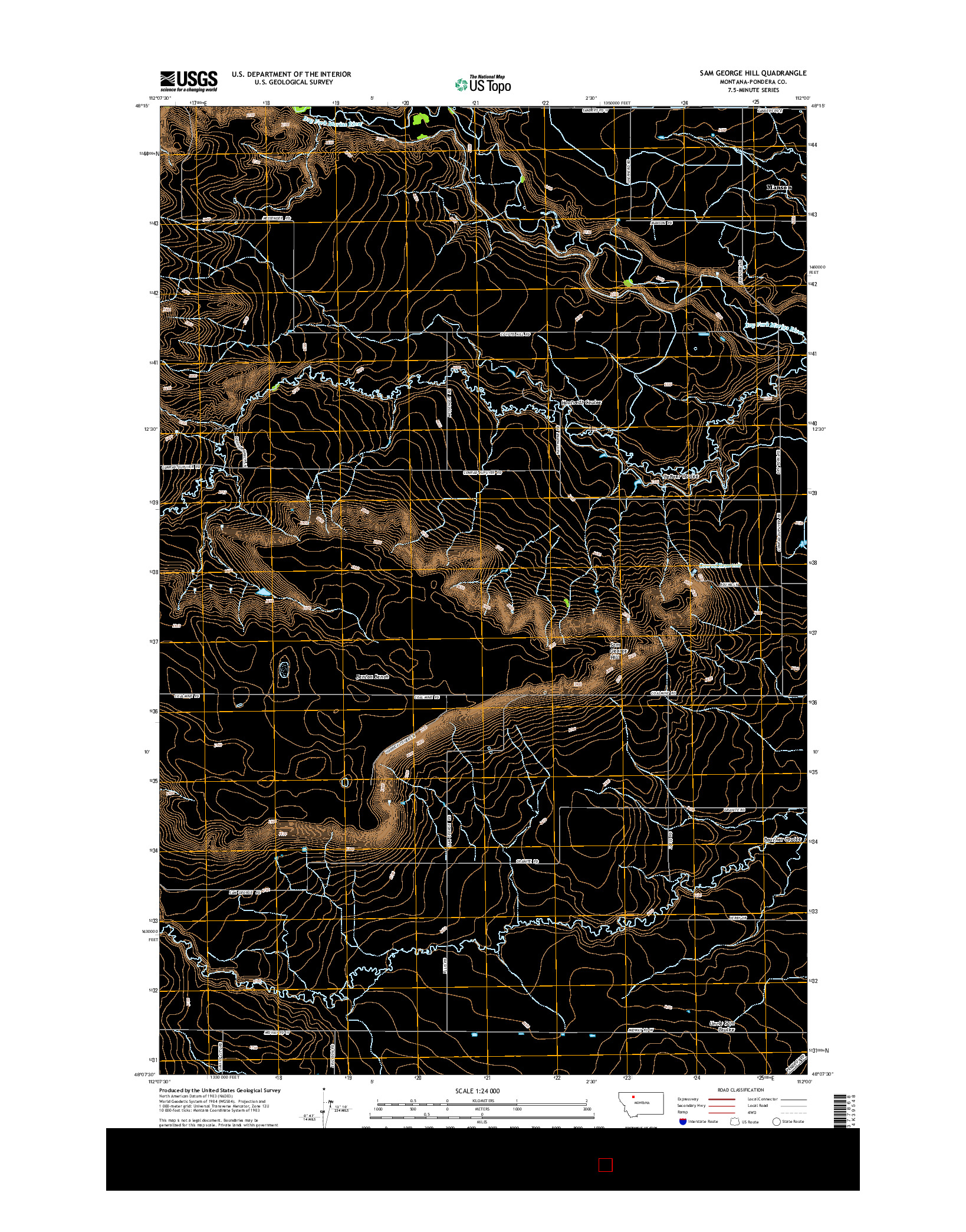 USGS US TOPO 7.5-MINUTE MAP FOR SAM GEORGE HILL, MT 2014