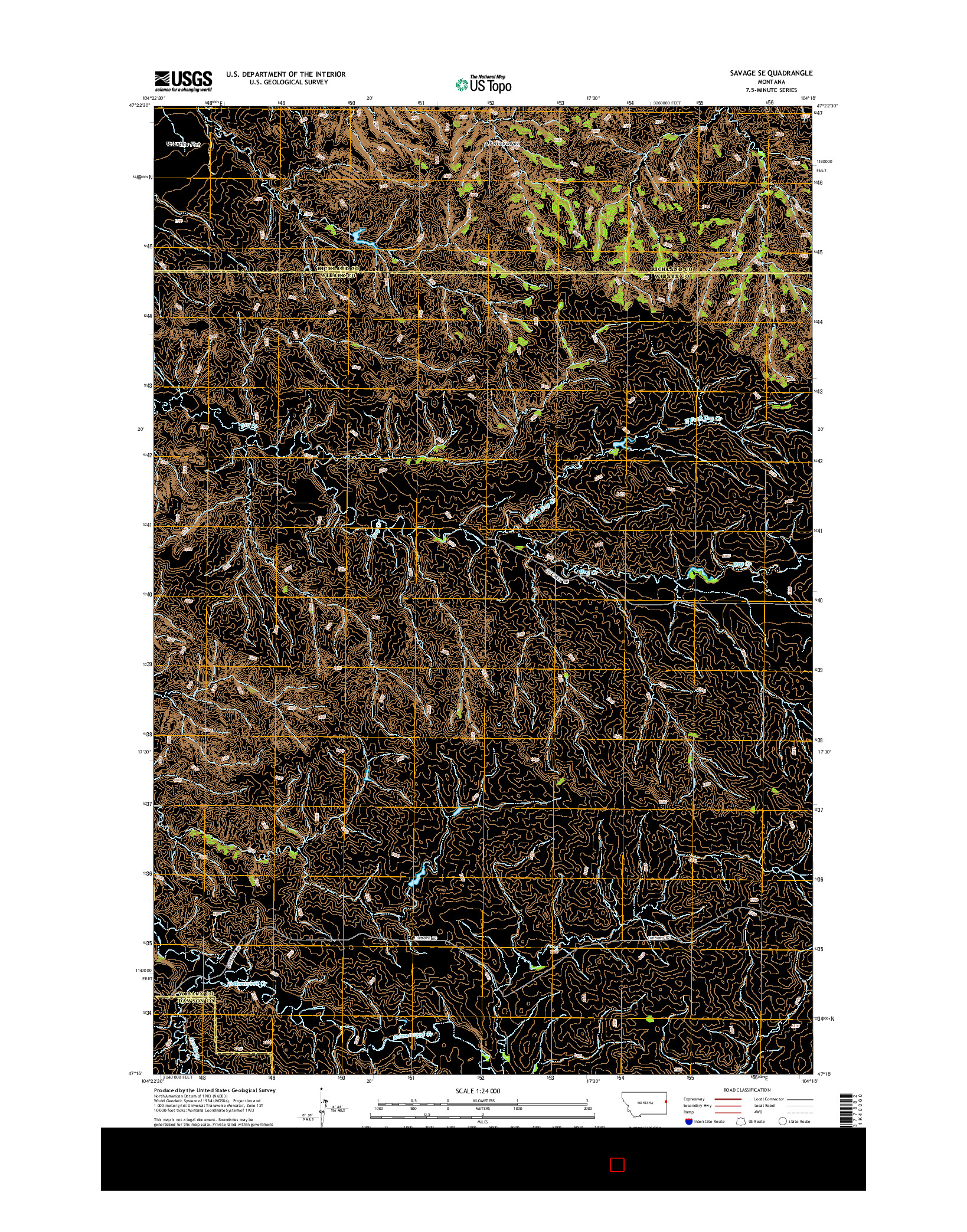 USGS US TOPO 7.5-MINUTE MAP FOR SAVAGE SE, MT 2014