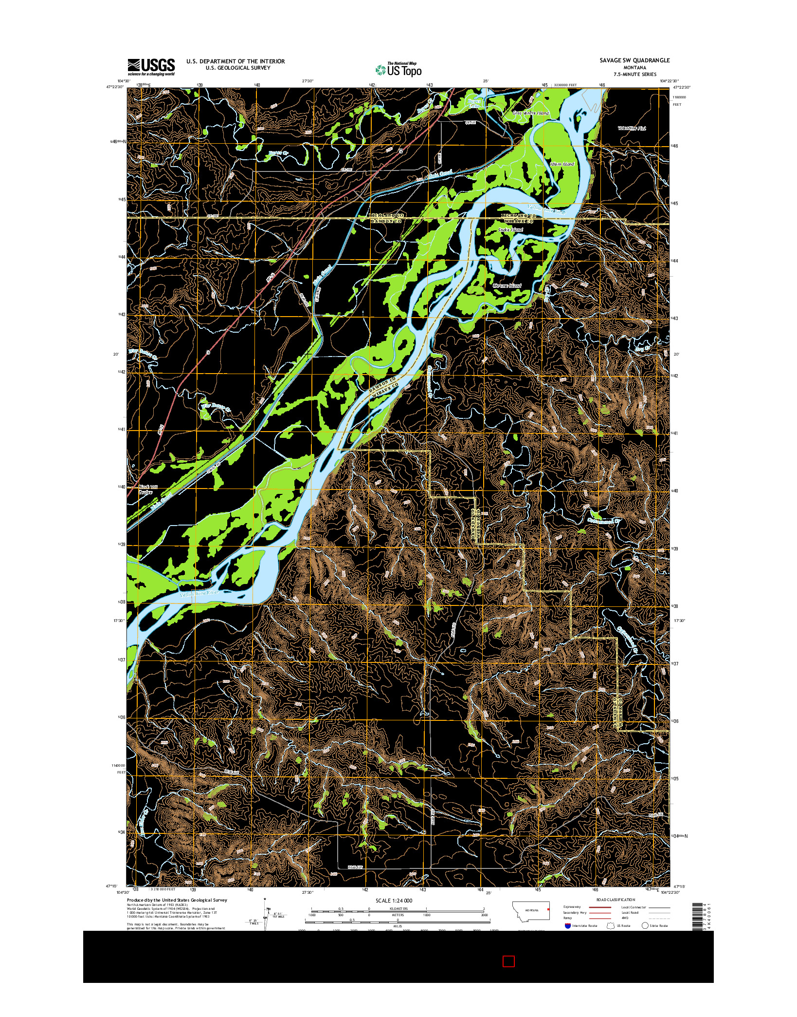 USGS US TOPO 7.5-MINUTE MAP FOR SAVAGE SW, MT 2014