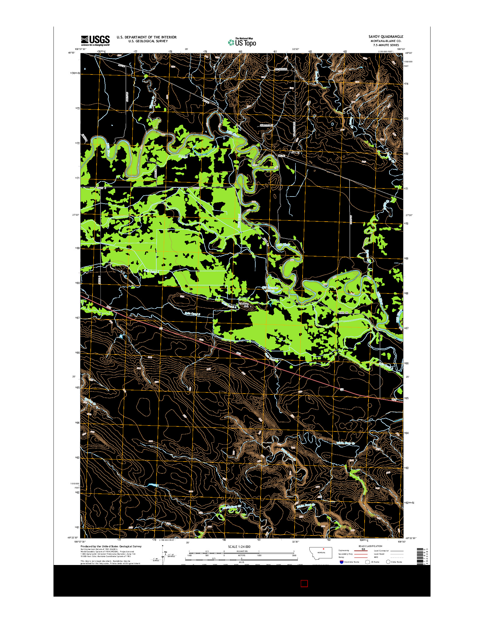 USGS US TOPO 7.5-MINUTE MAP FOR SAVOY, MT 2014