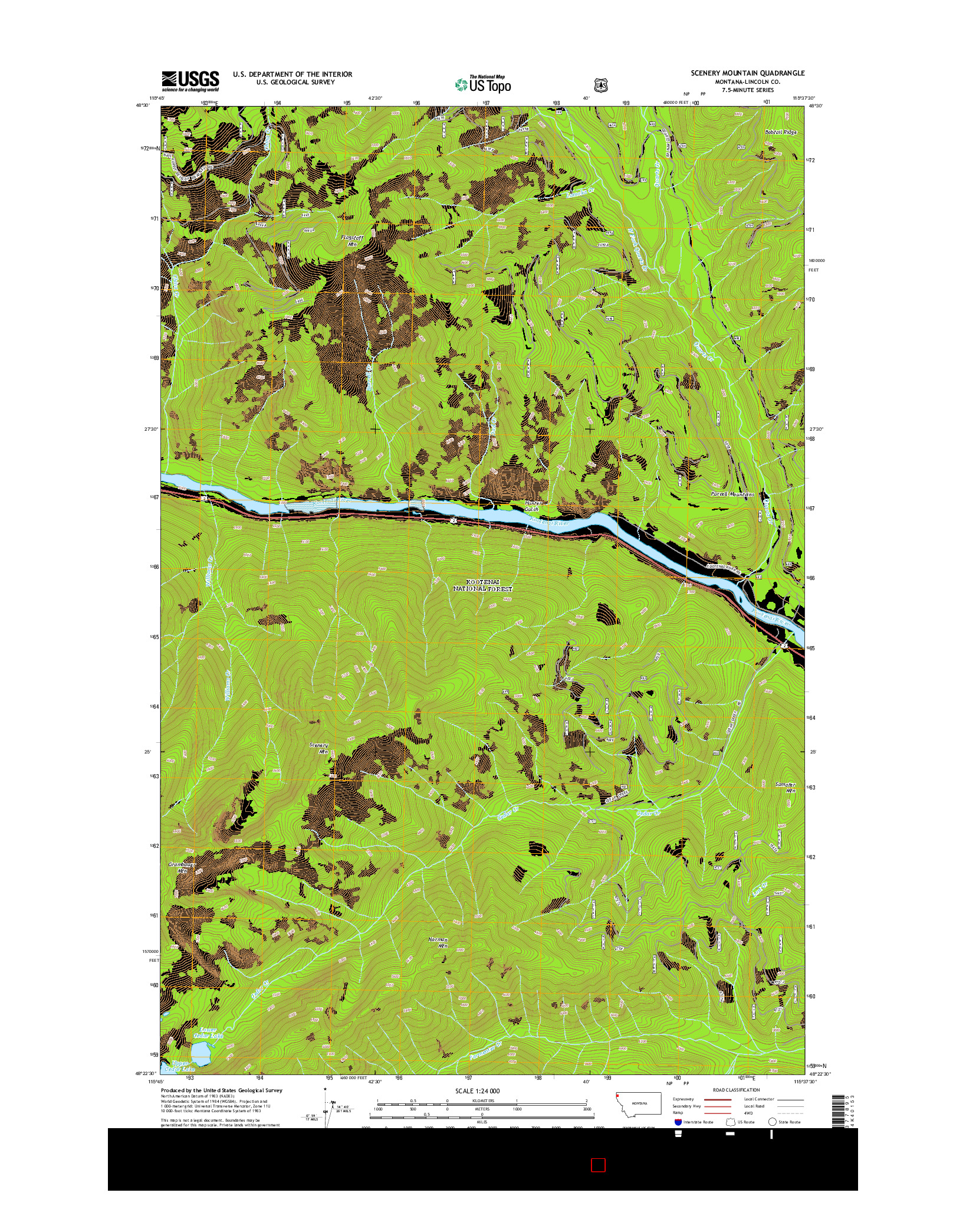 USGS US TOPO 7.5-MINUTE MAP FOR SCENERY MOUNTAIN, MT 2014