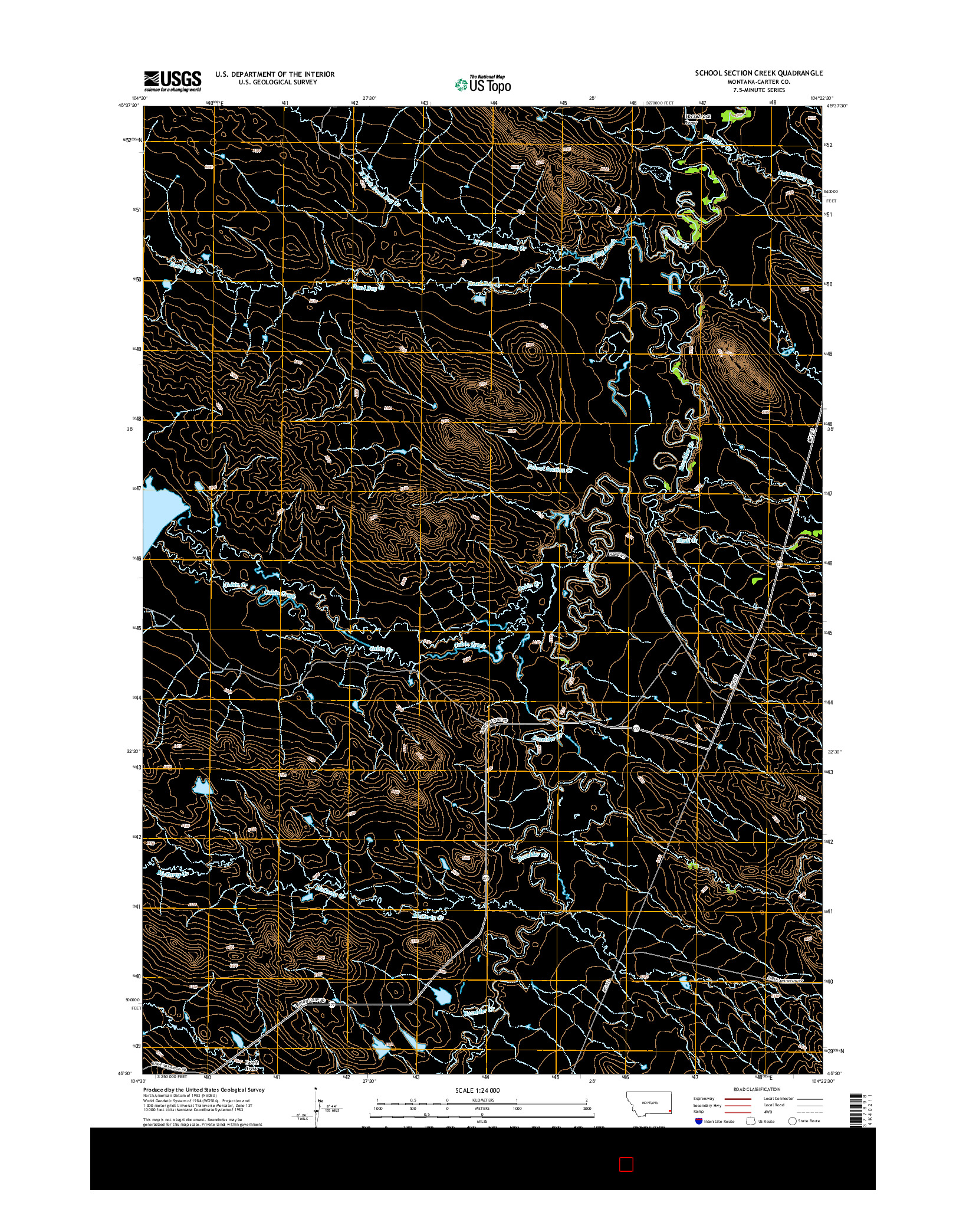 USGS US TOPO 7.5-MINUTE MAP FOR SCHOOL SECTION CREEK, MT 2014