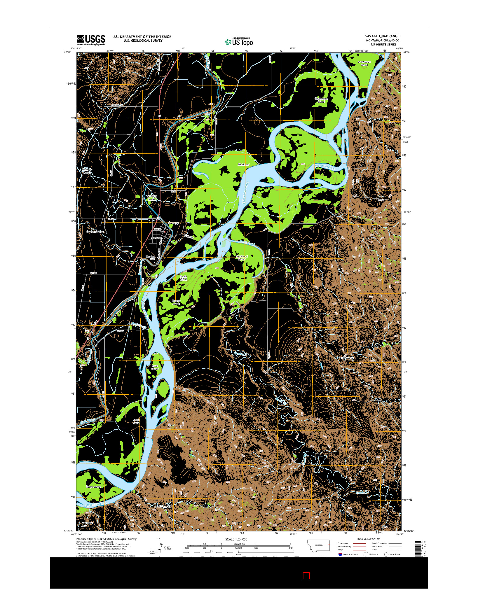 USGS US TOPO 7.5-MINUTE MAP FOR SAVAGE, MT 2014