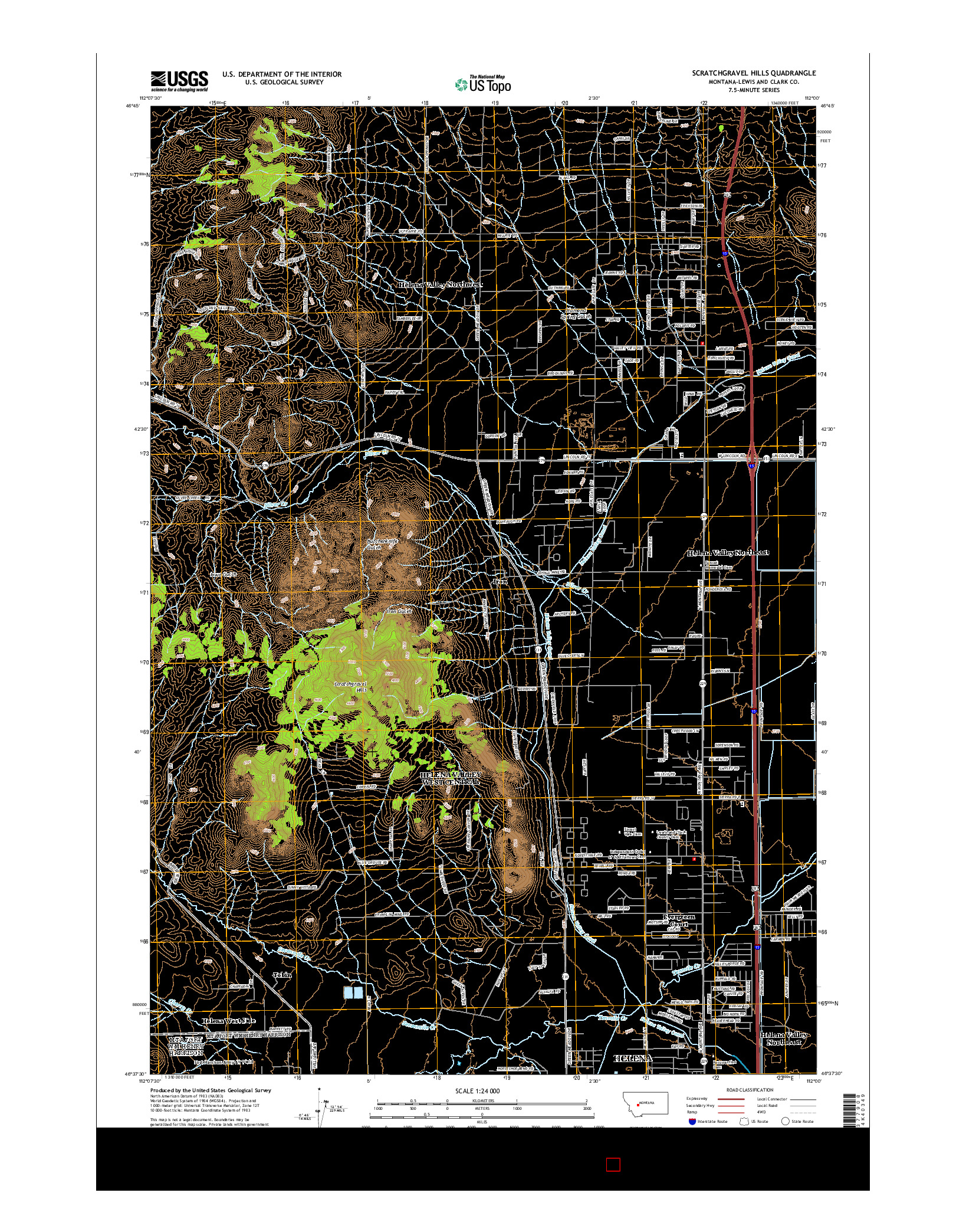 USGS US TOPO 7.5-MINUTE MAP FOR SCRATCHGRAVEL HILLS, MT 2014