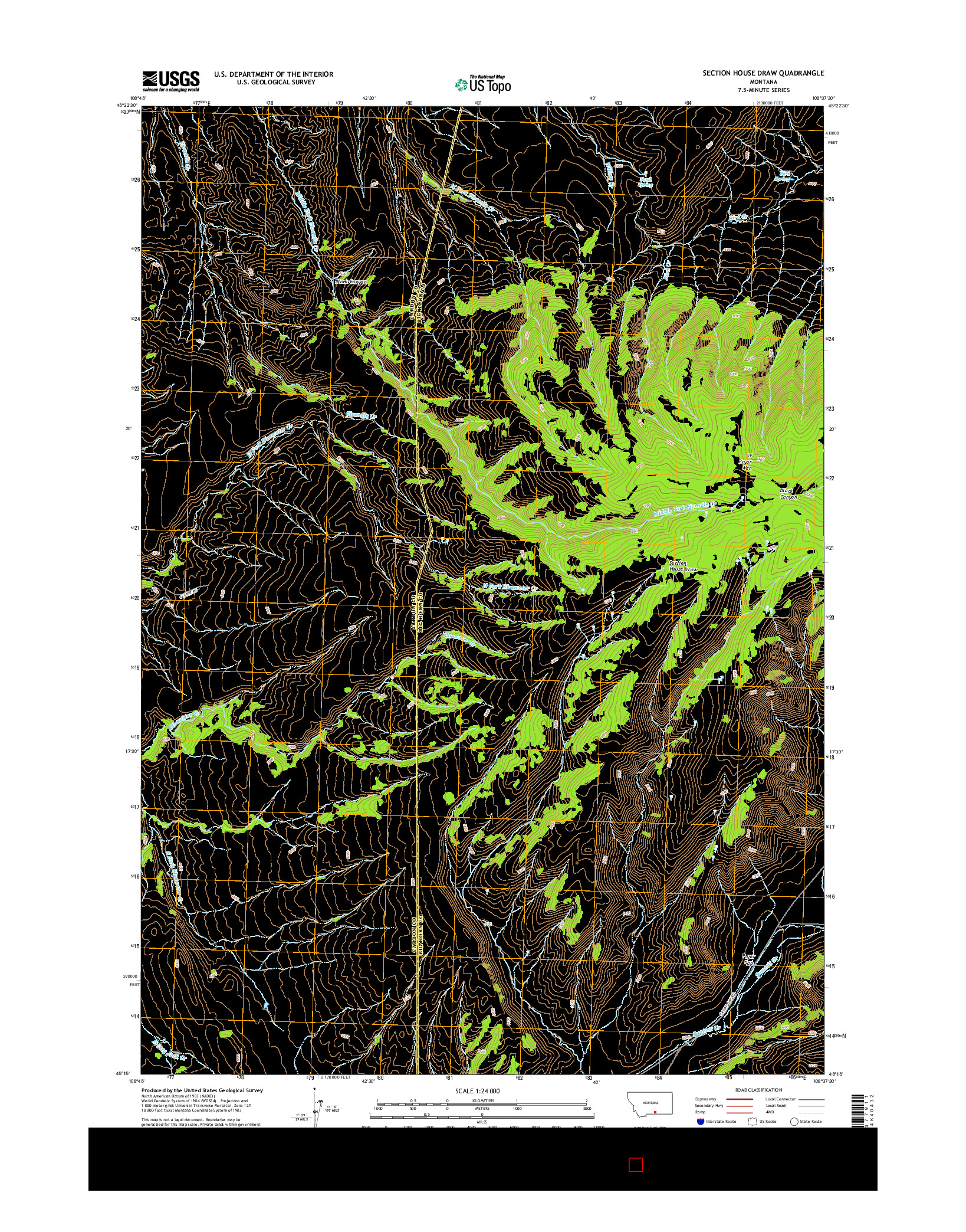 USGS US TOPO 7.5-MINUTE MAP FOR SECTION HOUSE DRAW, MT 2014